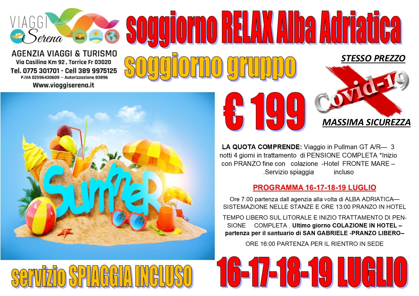 Viaggi di Gruppo: Soggiorno relax ALBA ADRIATICA 16-17-18-19 LUGLIO €199,00