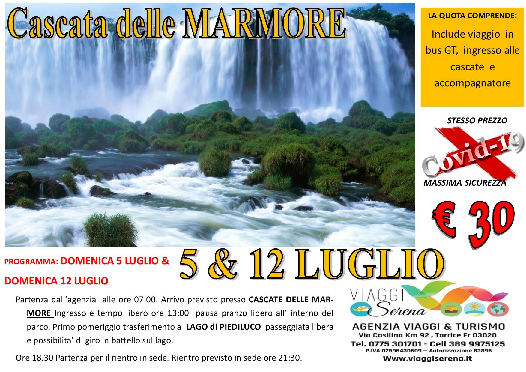 Viaggi di Gruppo: Cascate delle Marmore e Lago di Piediluco 12 LUGLIO € 30,00