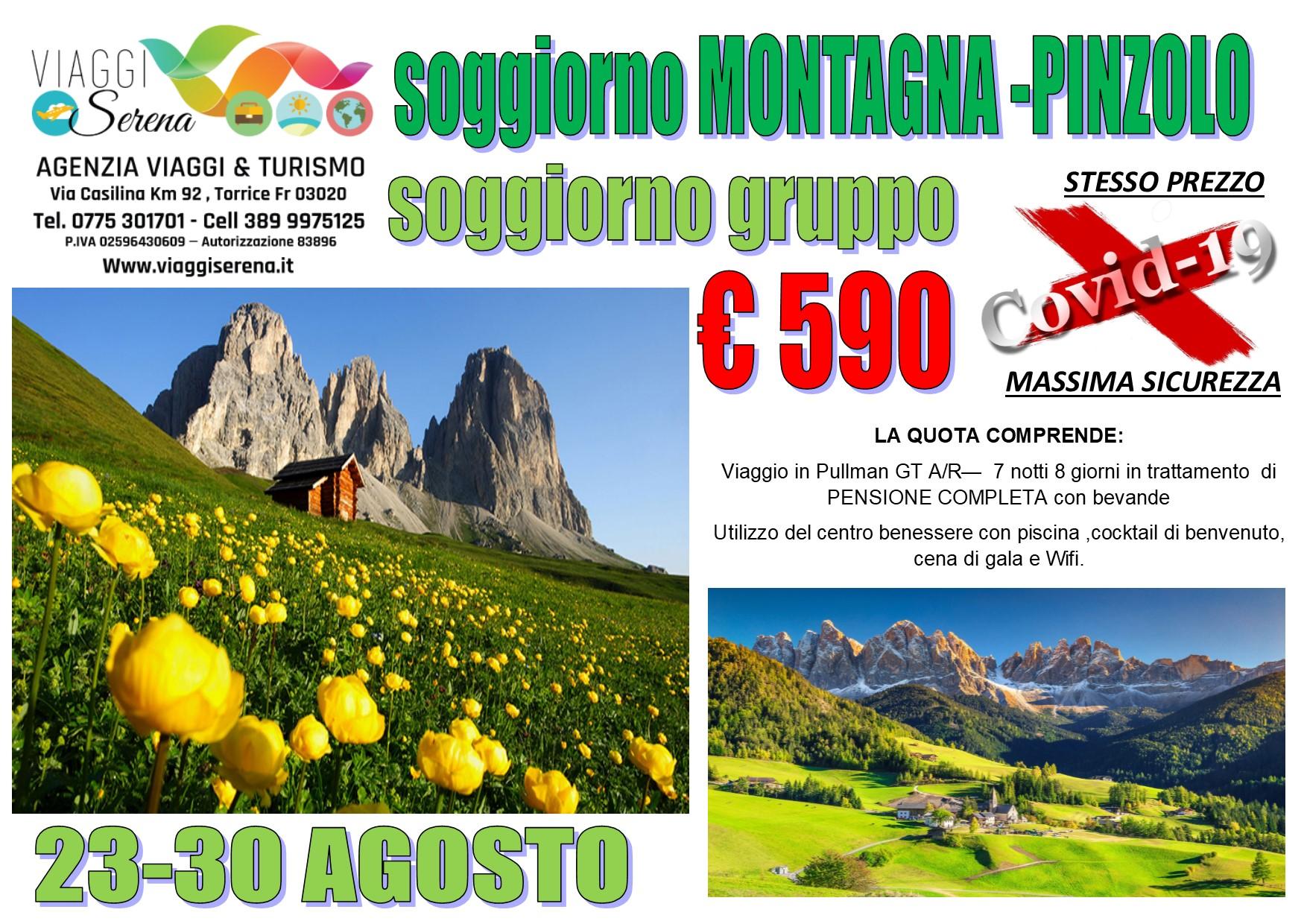 Viaggi di Gruppo: Soggiorno MONTAGNA a  Pinzolo 23-30 AGOSTO €590,00