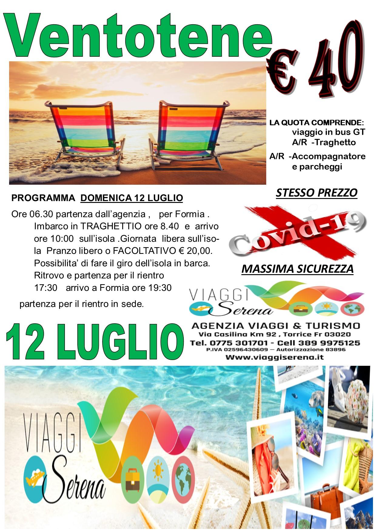 Viaggi di gruppo : Isola di Ventotene 12 LUGLIO €40,00