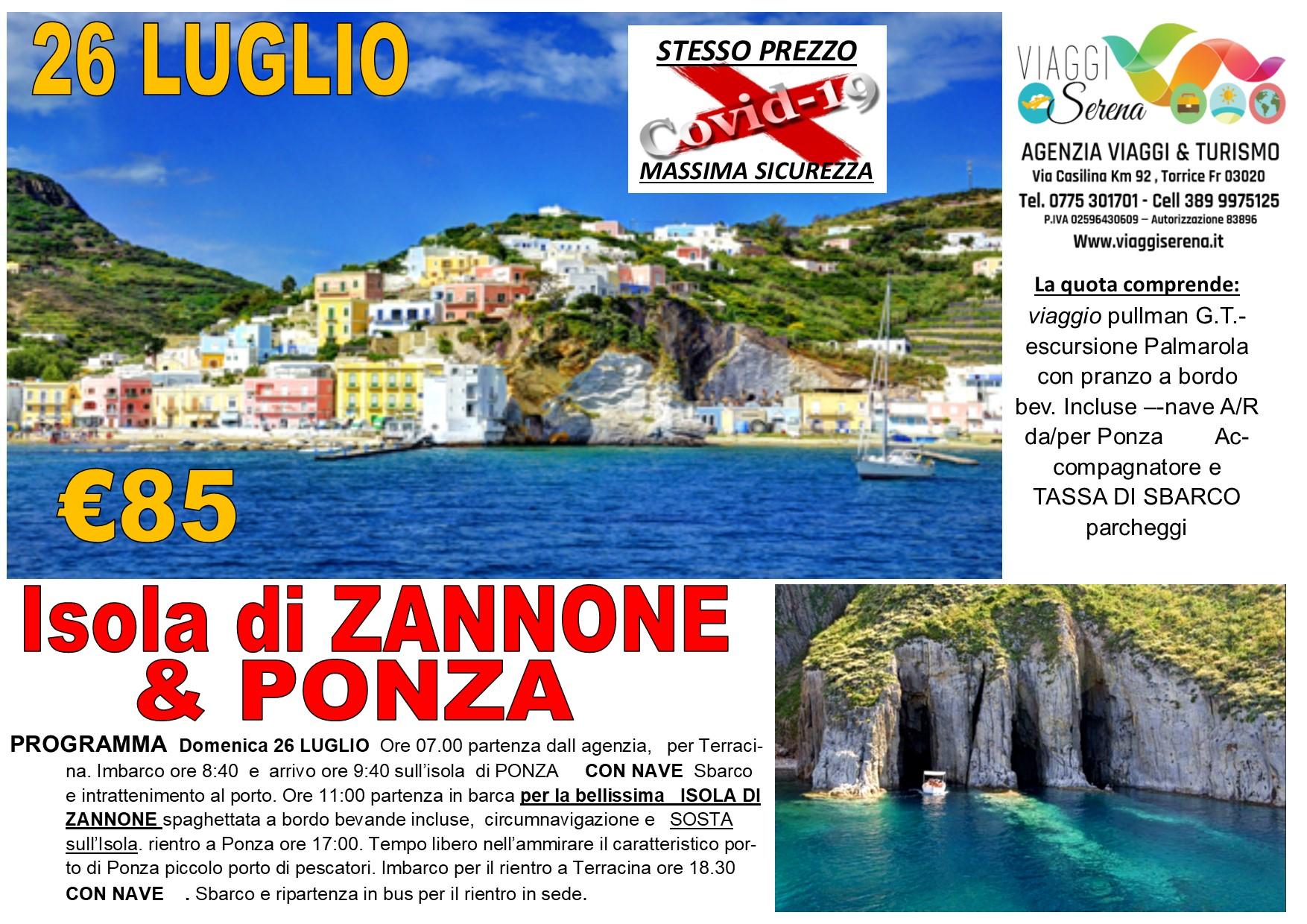 Viaggi di Gruppo: Isola di ZANNONE & Ponza 26 LUGLIO €85,00
