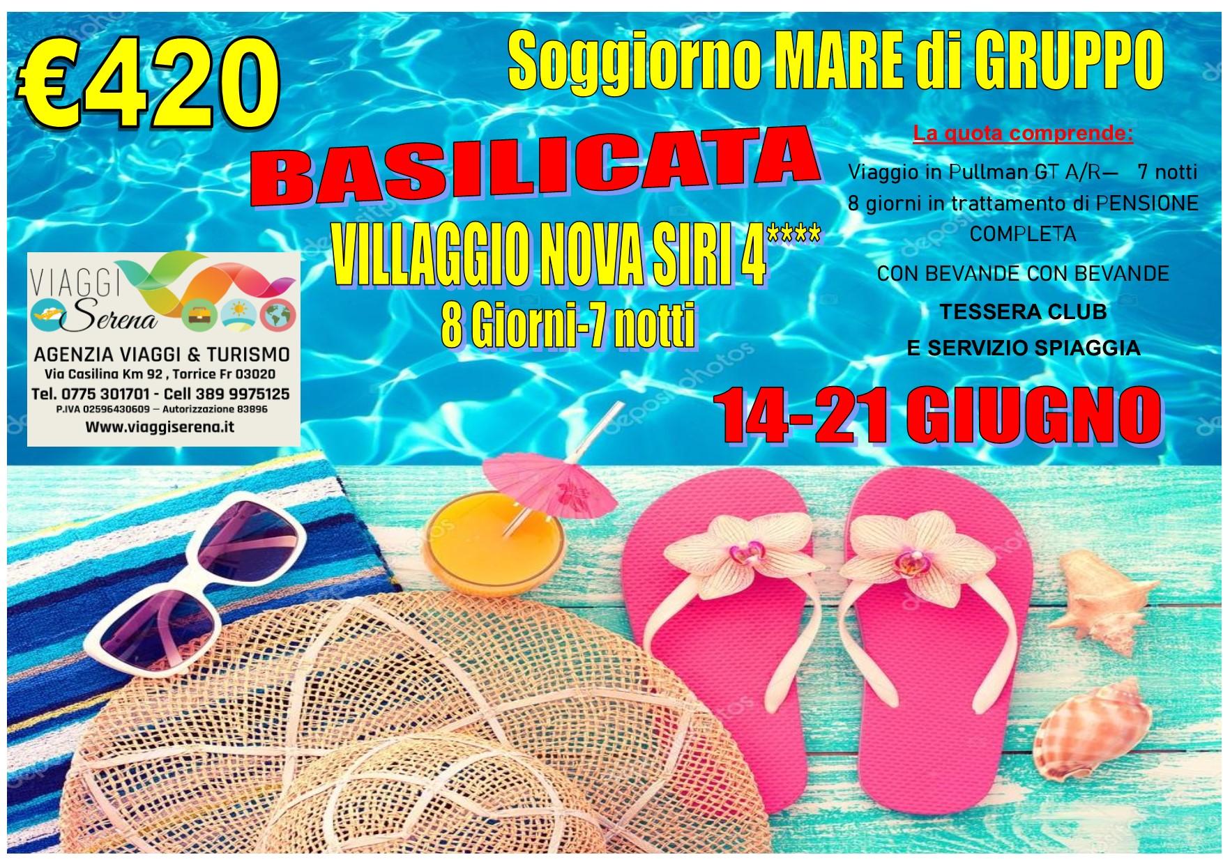 Viaggi Di Gruppo Soggiorno Mare Basilicata Nova Siri 4 14 21 Giugno 420 00 Viaggi Serena