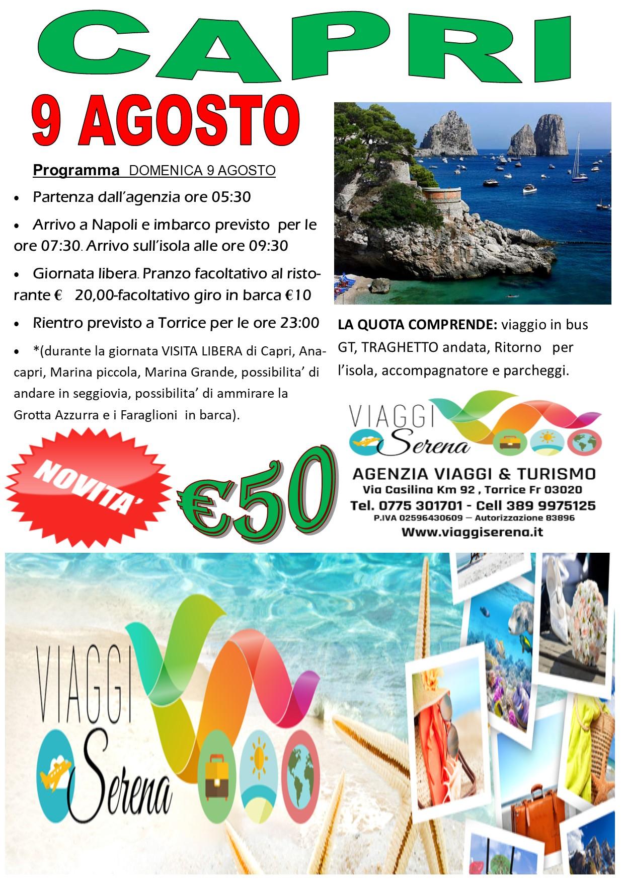 Viaggi di Gruppo: CAPRI & Anacapri 9 Agosto  €50,00