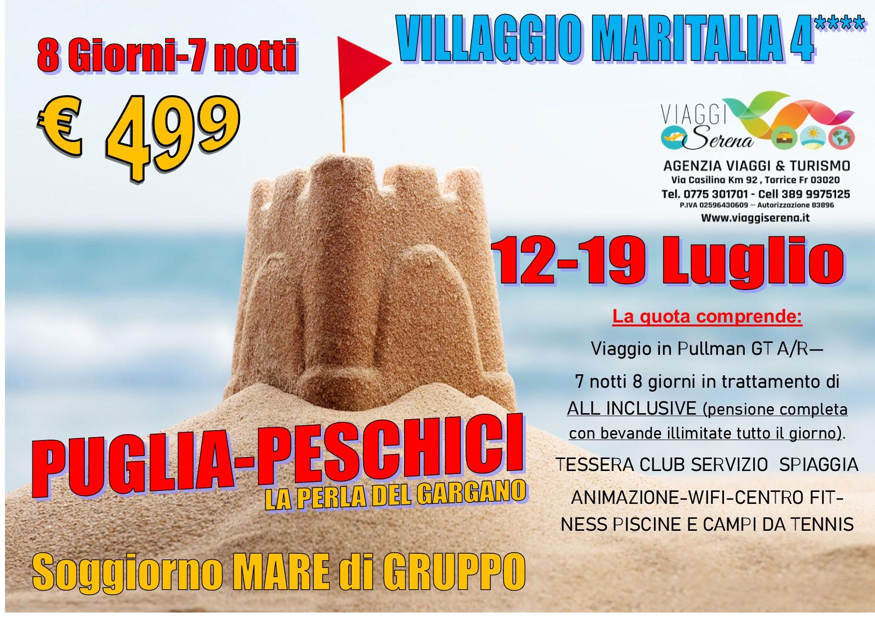 """Viaggi di Gruppo: soggiorno mare PUGLIA """"Maritalia 4****"""" 12-19 LUGLIO €499,00"""