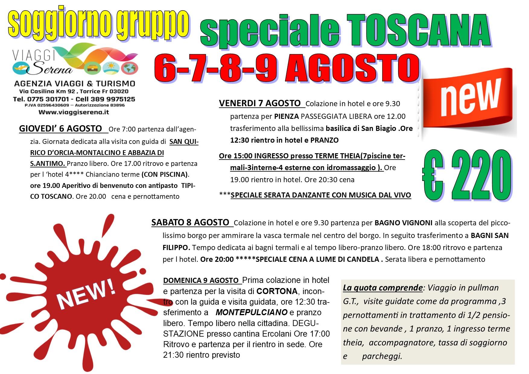 """Viaggi di Gruppo: Speciale TOSCANA """"le colline toscane"""" 6-7-8-9 Agosto €220,00"""