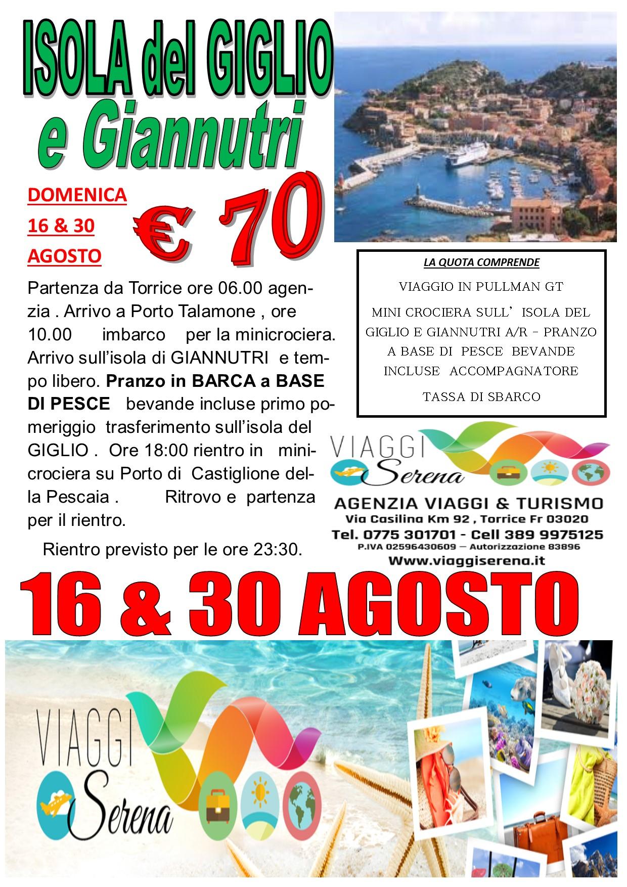 Viaggi di Gruppo: Minicrociera Isola del GIGLIO & Isola di Giannutri  30 Agosto €70,00