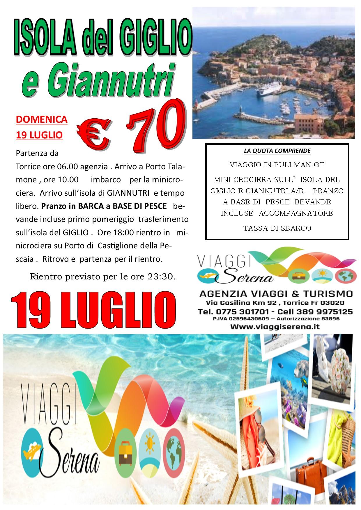 Viaggi di Gruppo: Minicrociera Isola del GIGLIO & Isola di Giannutri 19 Luglio  €70,00
