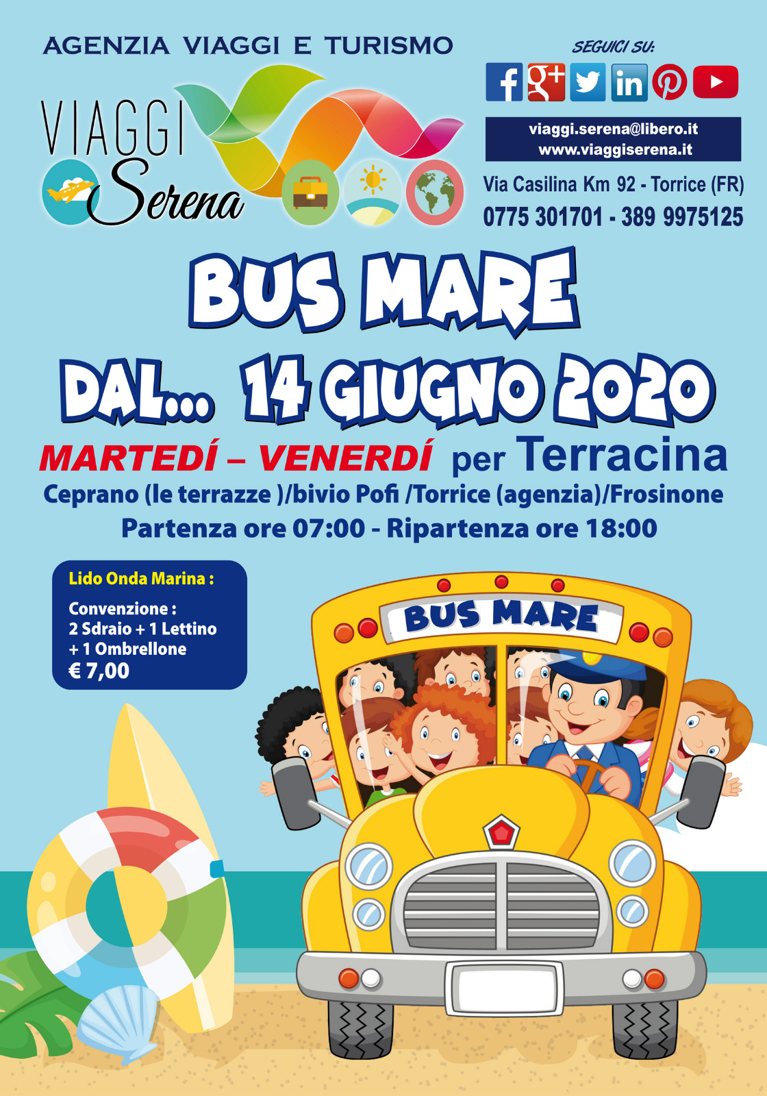 """Viaggi di Gruppo: servizio """"MARE in BUS"""" per Terracina €10,00"""