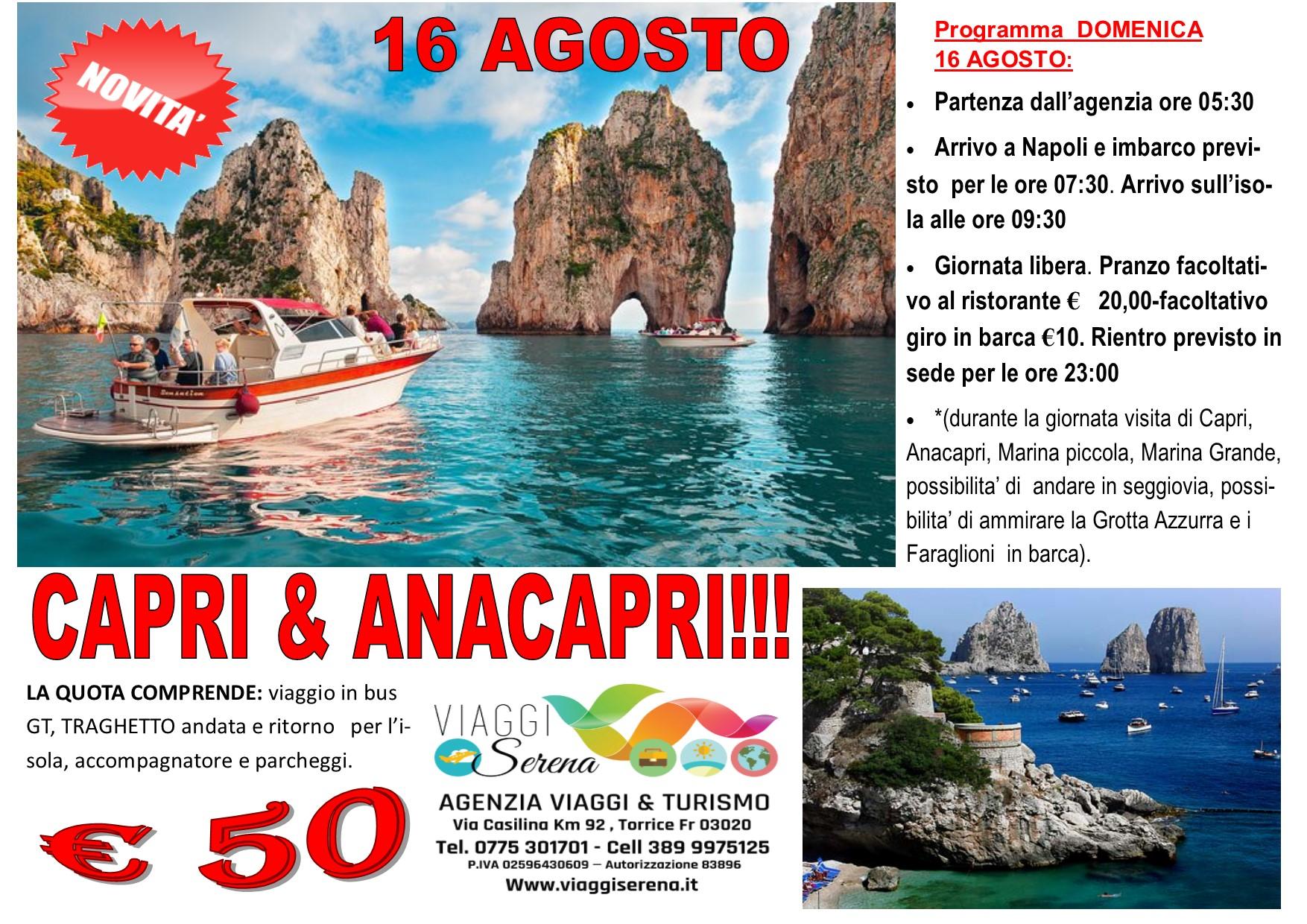 Viaggi di Gruppo: Isola di CAPRI & ANACAPRI 16 Agosto  €50,00
