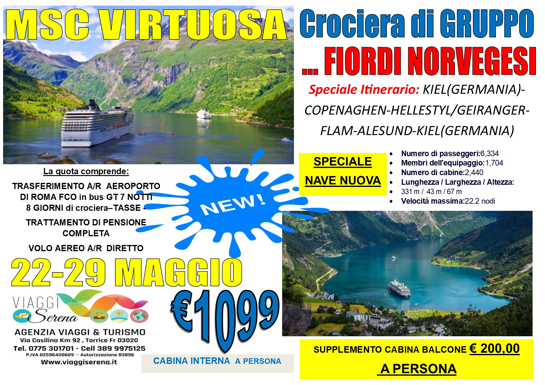 """Crociera di Gruppo: FIORDI NORVEGESI """"Msc Virtuosa"""" 22-29 Maggio 2021… € 1099,00"""