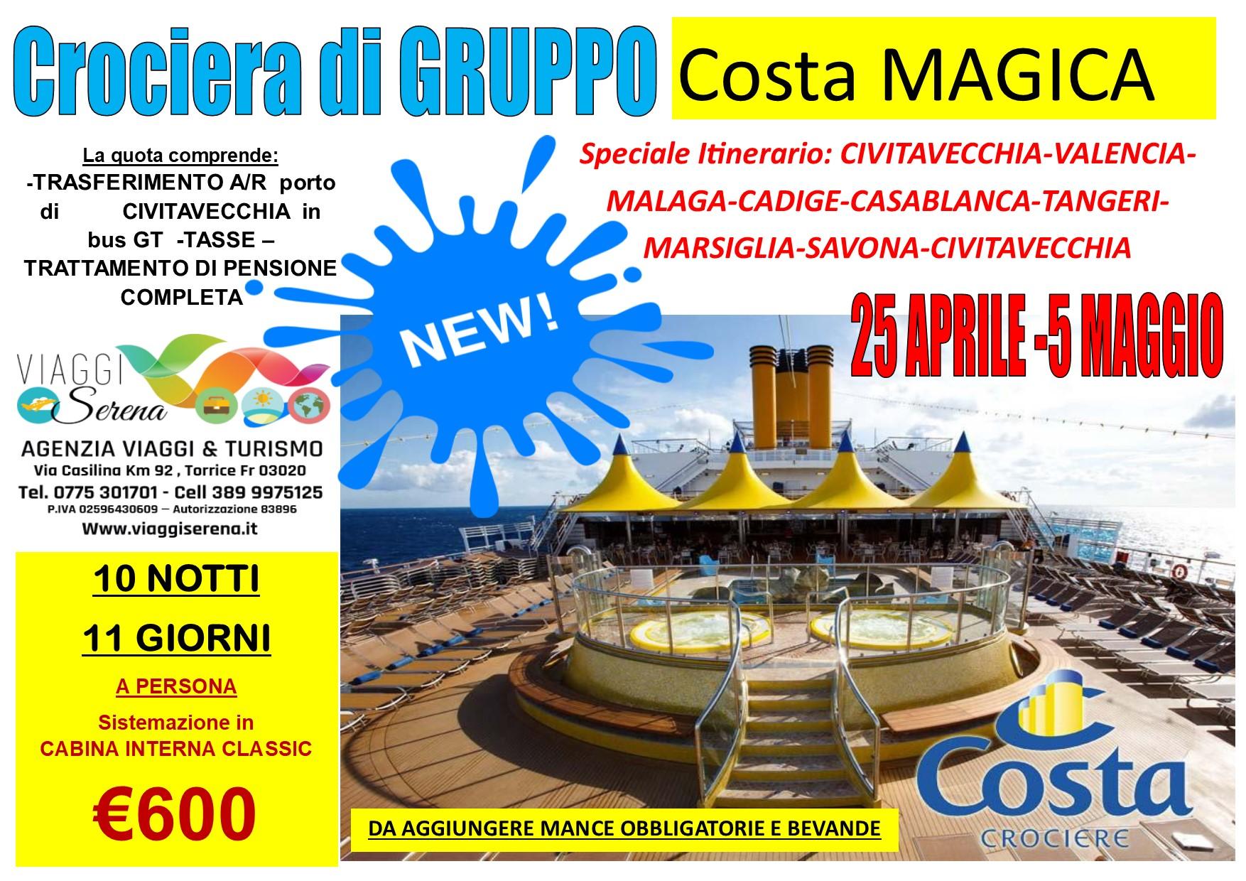 """Crociera di Gruppo:  """"Costa MAGICA"""" 25 Aprile -5 Maggio 2021… € 600,00"""