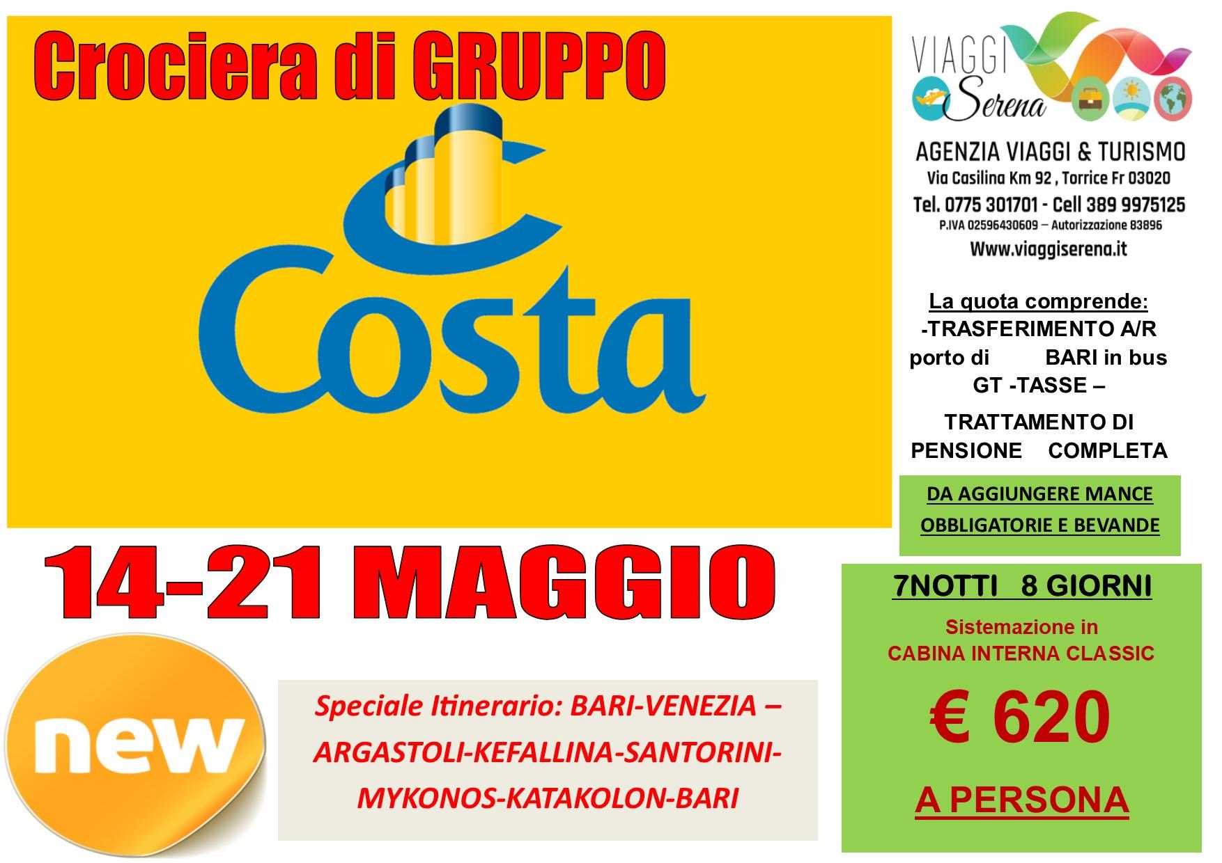 """Crociera di Gruppo:  """"Costa Deliziosa"""" 14-21 Maggio 2021… € 620,00"""