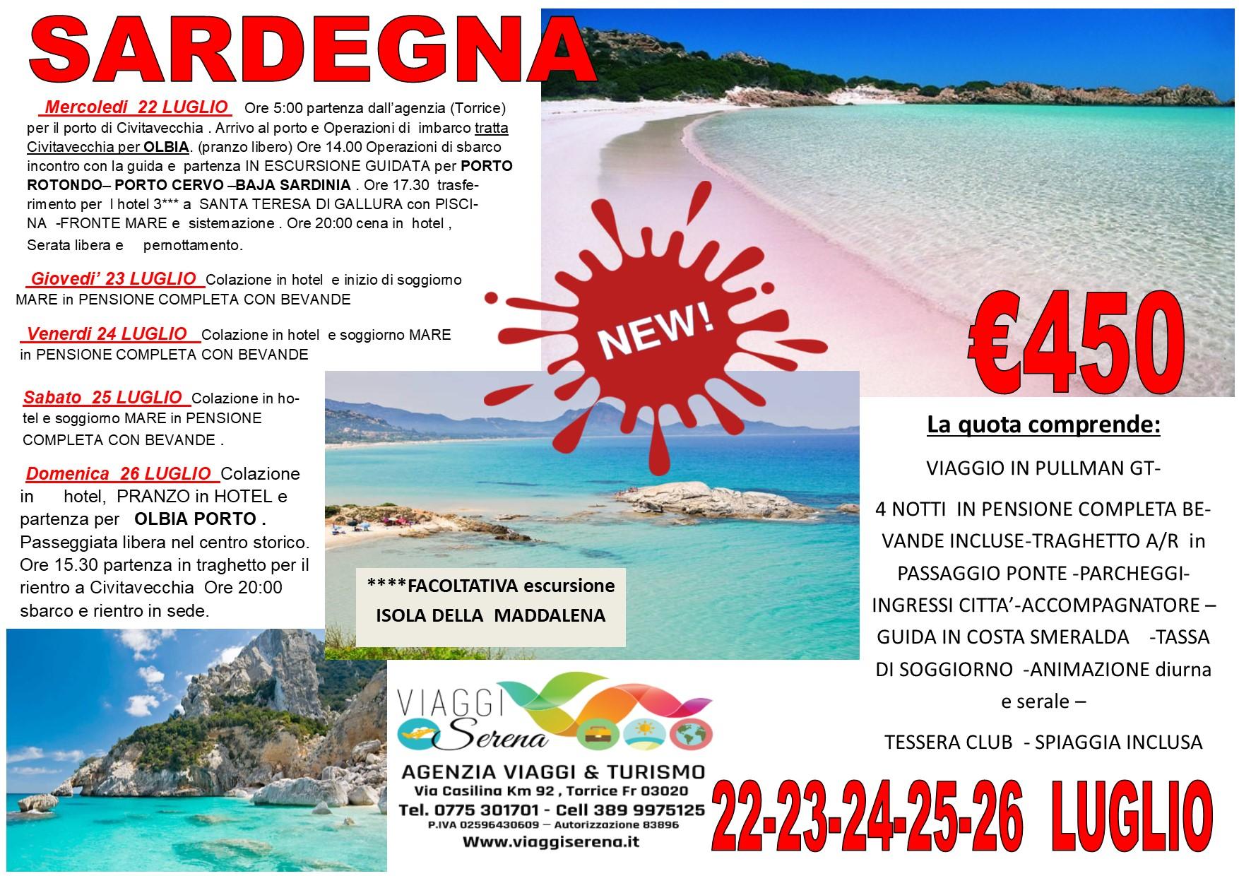 Viaggi di Gruppo: soggiorno mare SARDEGNA 22-23-24-25-26 Luglio €450,00