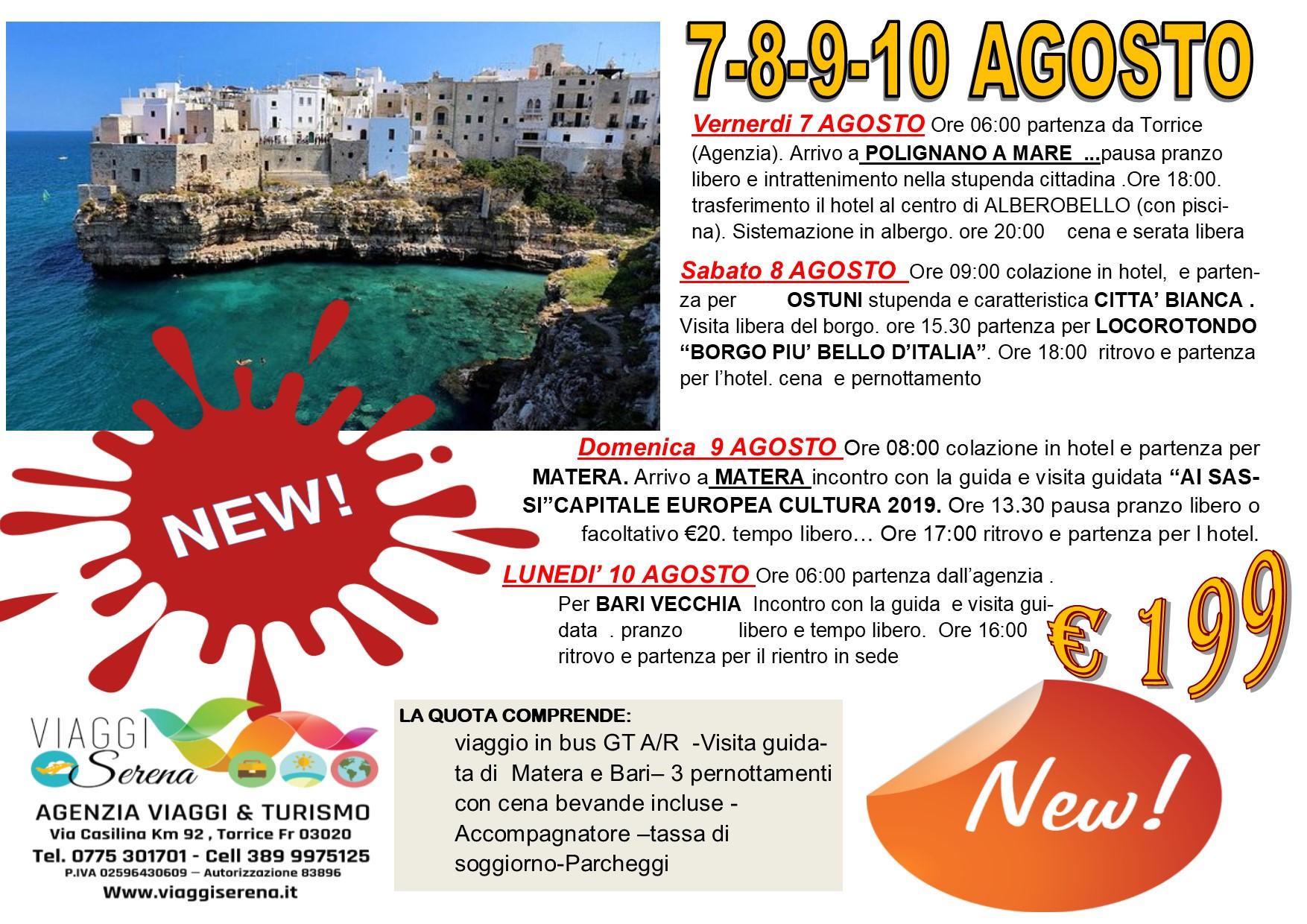Viaggi di Gruppo: speciale PUGLIA  7-8-9-10 Agosto € 199,00