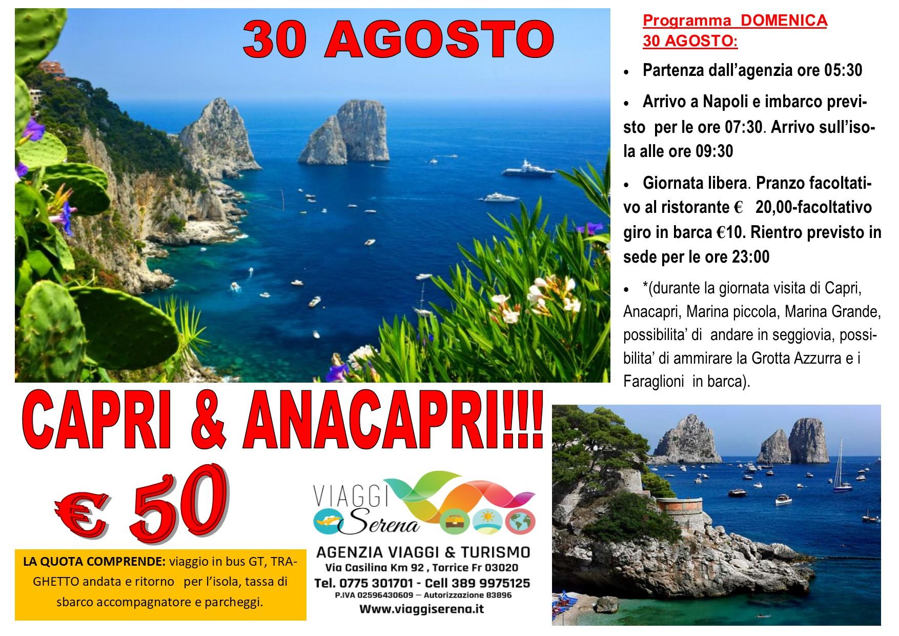 Viaggi di Gruppo: Isola di CAPRI  30 Agosto € 50,00