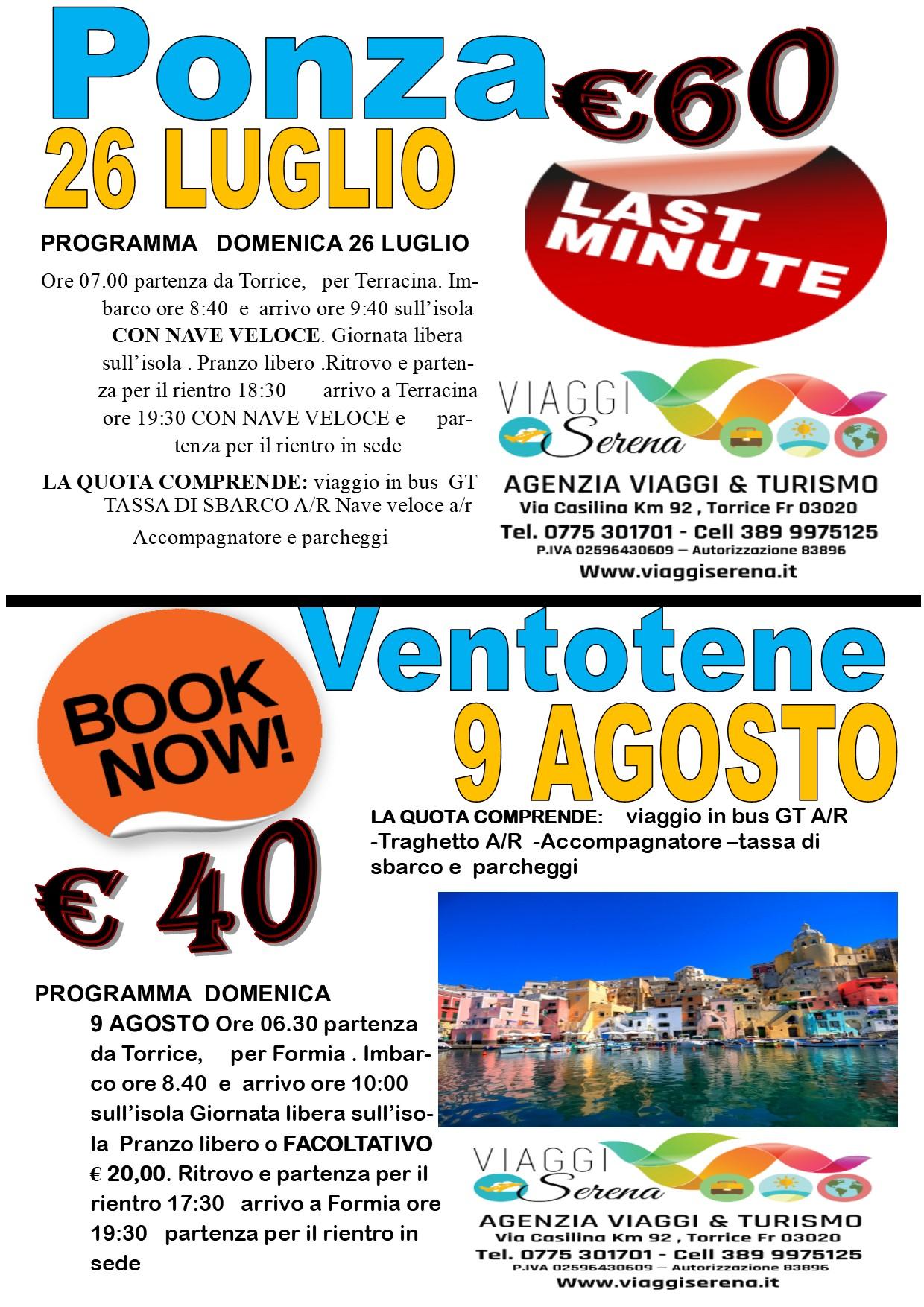 Viaggi di Gruppo: Isola di PONZA 26 Luglio € 60,00