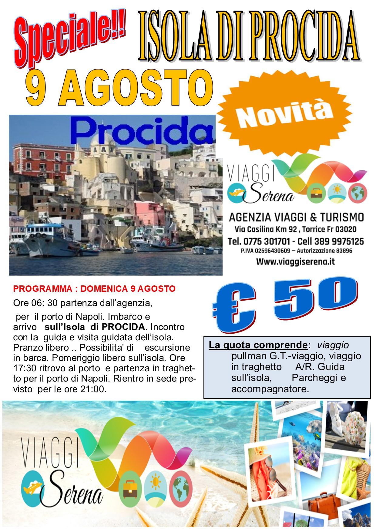 Viaggi di Gruppo: Isola di PROCIDA 9 Agosto € 50,00
