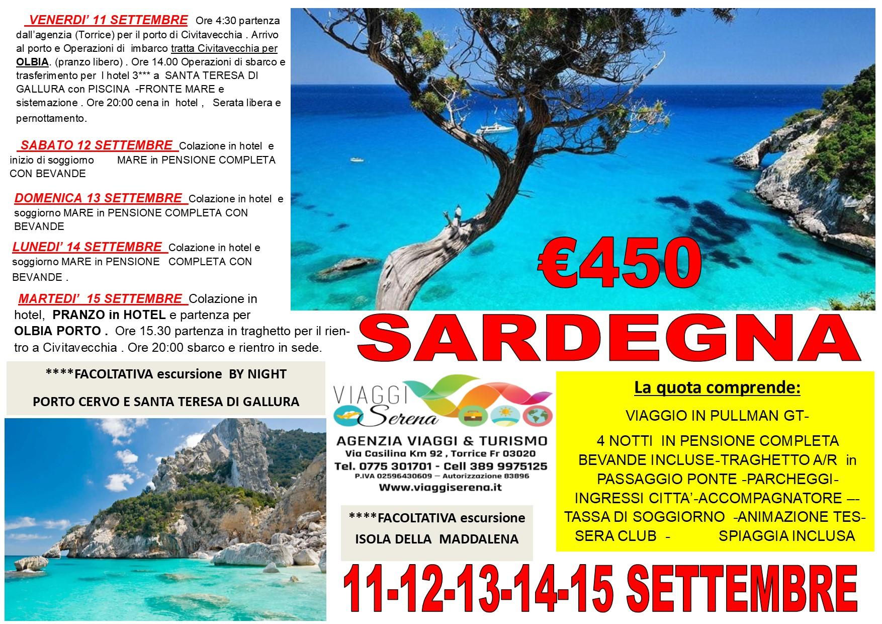 Viaggi di Gruppo: soggiorno mare  SARDEGNA  11-12-13-14-15 Settembre € 450,00