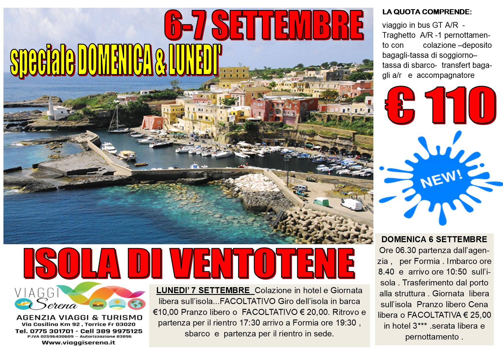 Viaggi di Gruppo: Isola di VENTOTENE 6-7 Settembre € 110,00