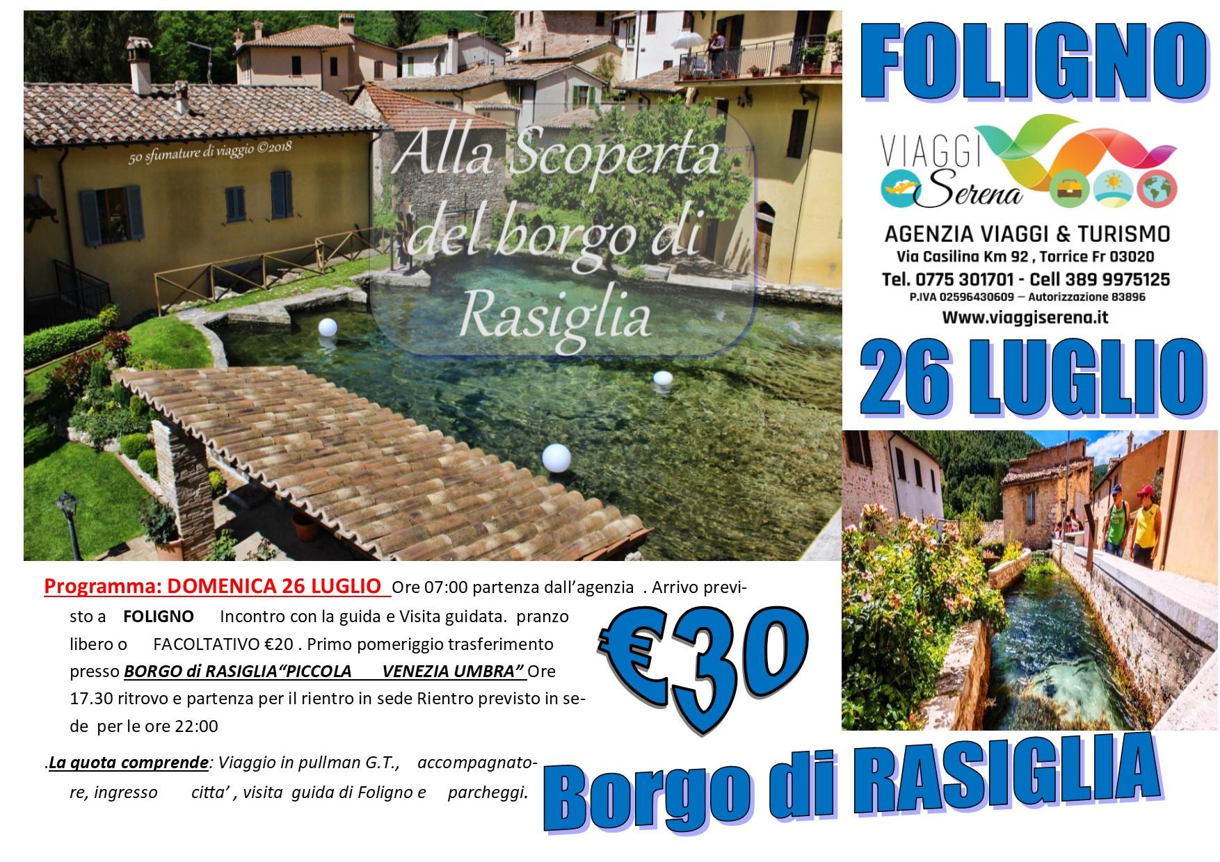 """Viaggi di Gruppo: Rasiglia la """"piccola Venezia"""" & Foligno 26 Luglio € 30,00"""