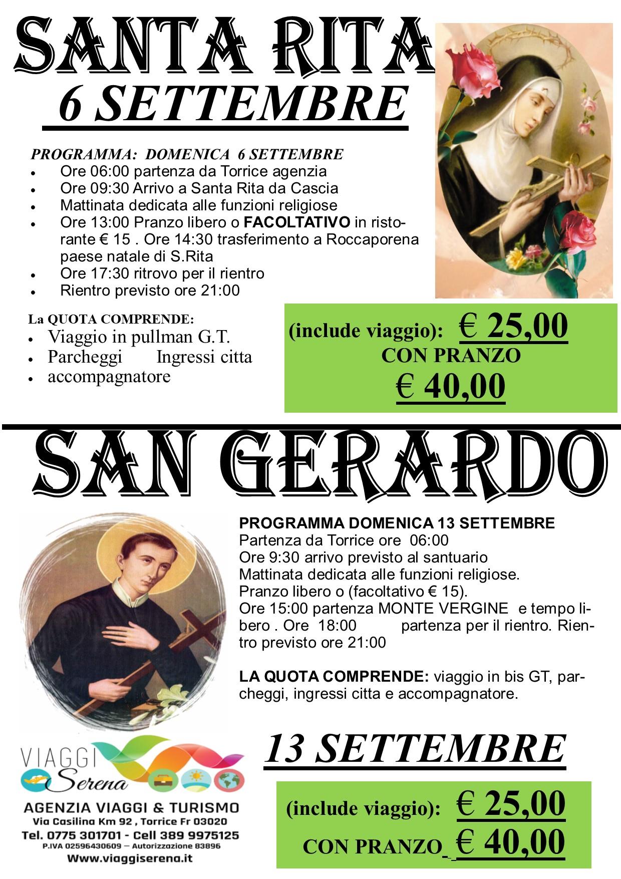 Viaggi di Gruppo: Pellegrinaggio SAN GERARDO 13 Settembre € 25,00