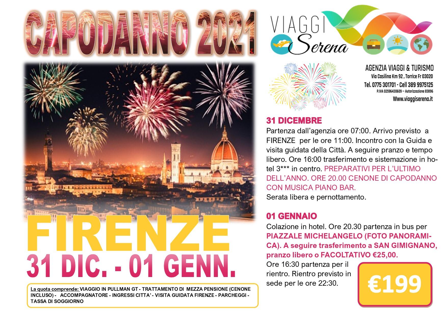 Viaggi di Gruppo speciale Capodanno: FIRENZE 31 Dicembre- 1 Gennaio € 199,00