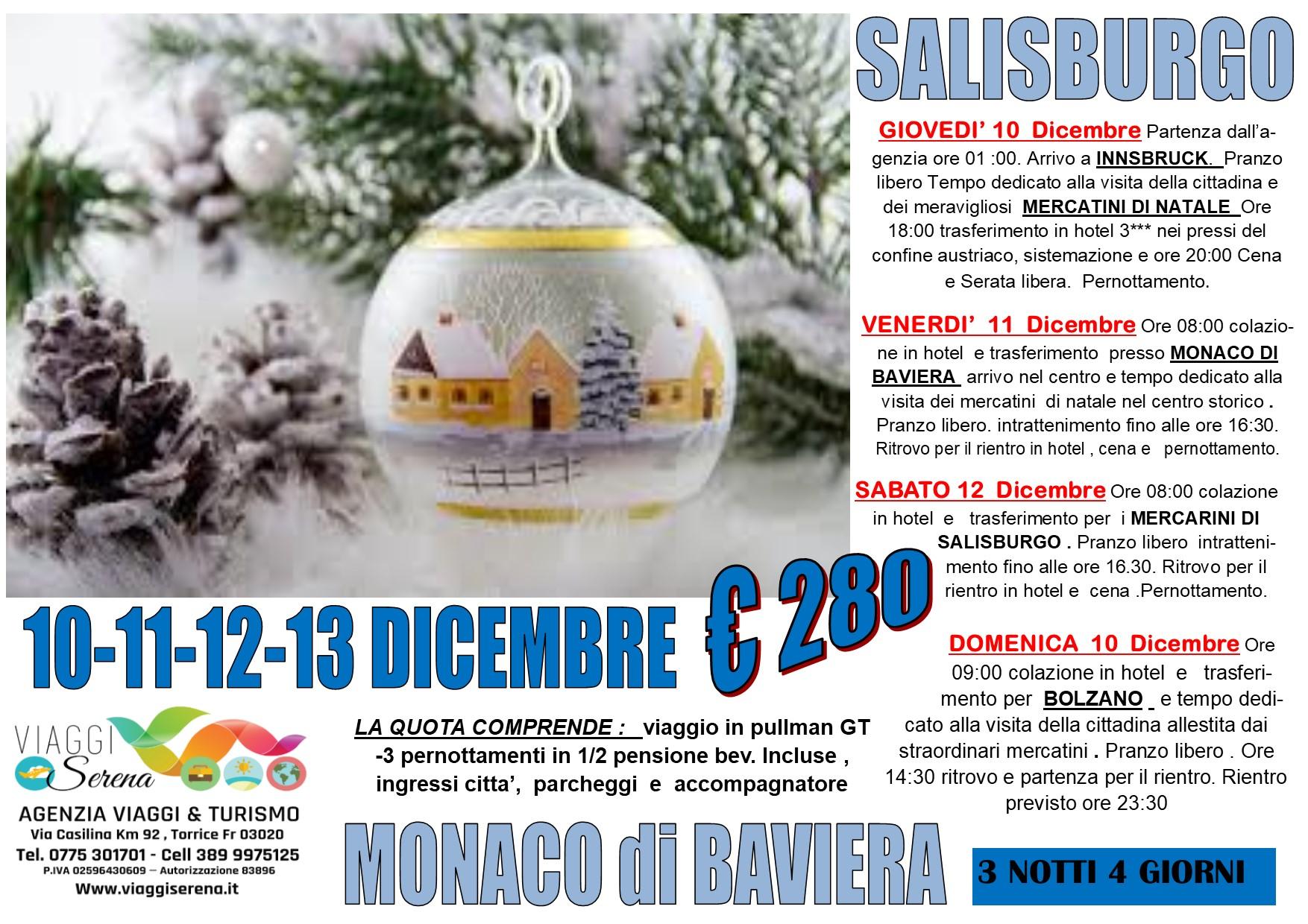 Viaggi di Natale:  Salisburgo, Monaco di Baviera  & Innsbruck 10-11-12-13 Dicembre  € 280,00