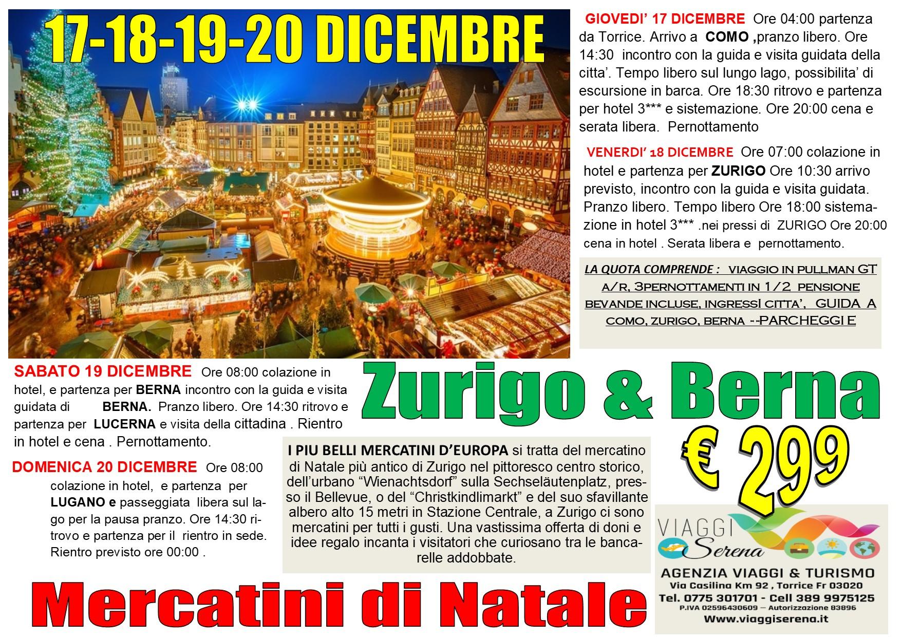Viaggi di Natale:  Zurigo, Berna,  Lucerna & Lugano 17-18-19-20 Dicembre  € 299,00
