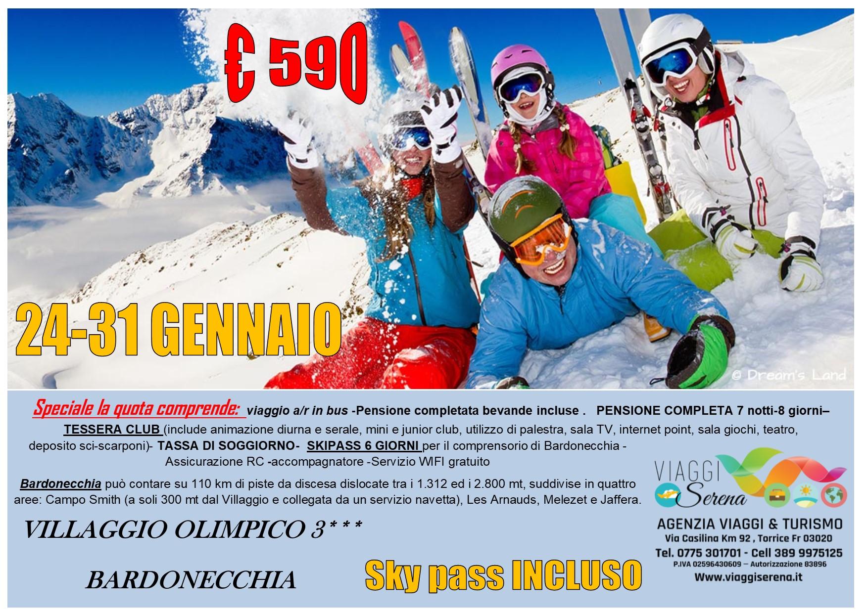 """Viaggi di Gruppo: Settimana Bianca """"Bardonecchia"""" dal 24-31 Gennaio € 590,00"""