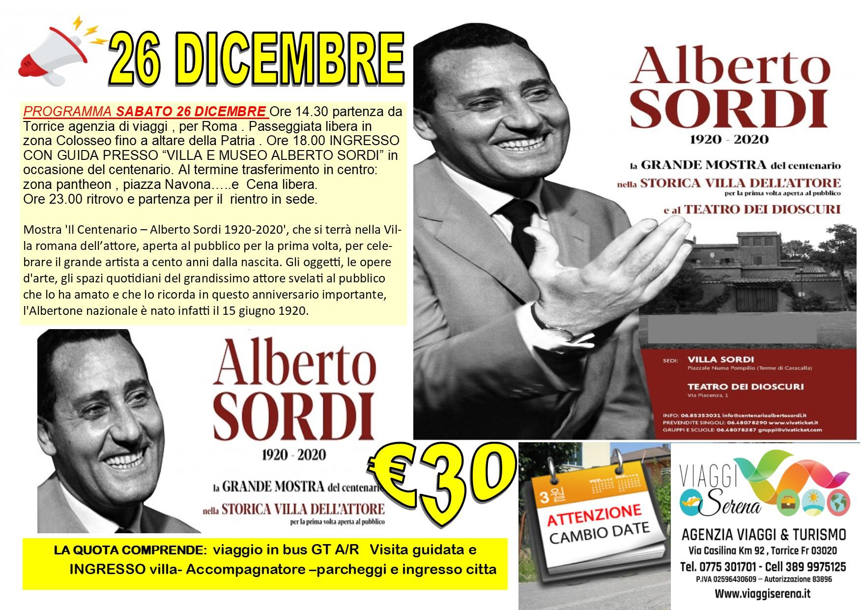 """Viaggi di Gruppo: MUSEO """"ALBERTO SORDI"""" by night Speciale Sabato 26 Dicembre € 30,00"""