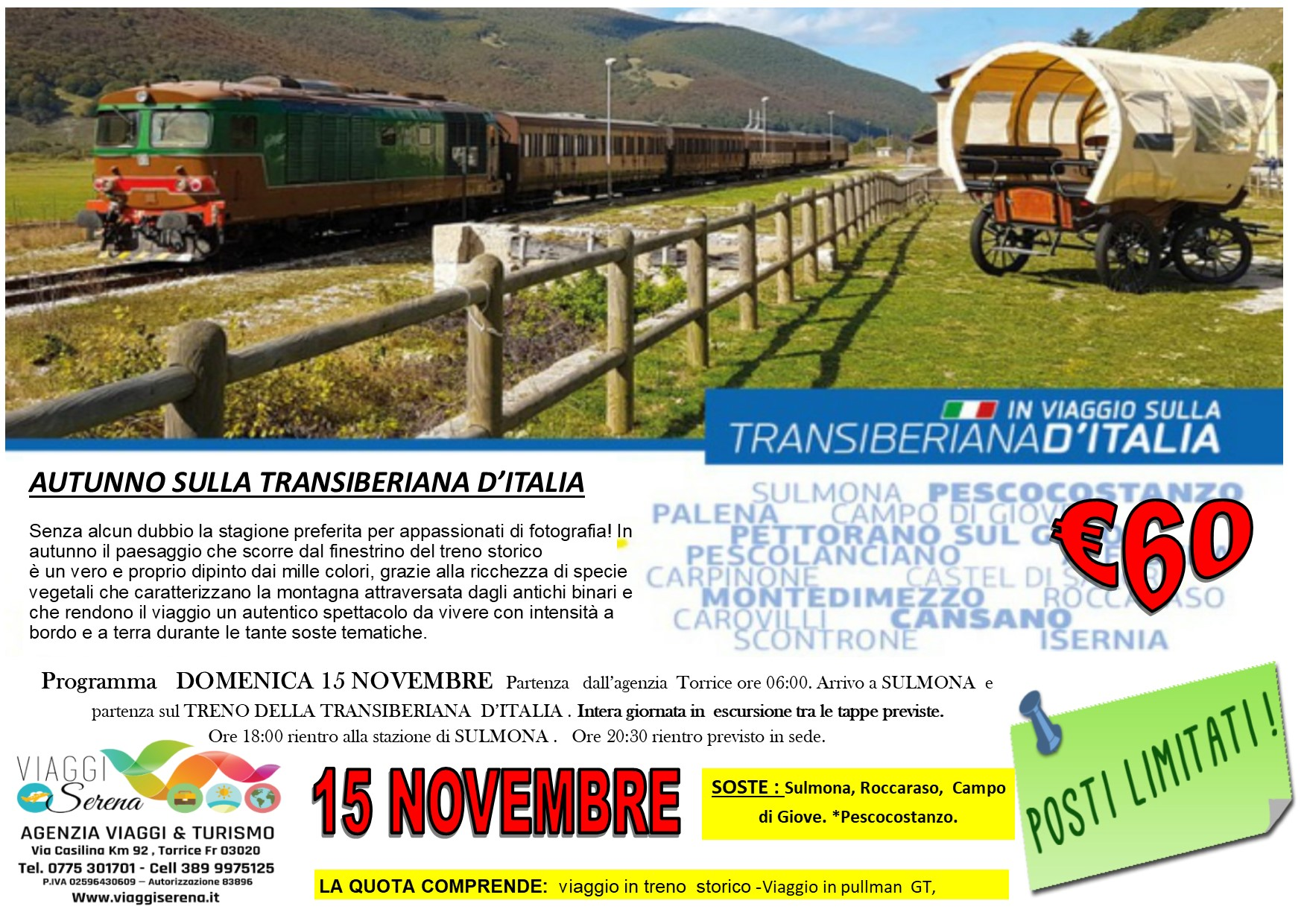 """Viaggi di Gruppo: Transiberiana d'Italia """"Treno dell'Autunno"""" 15 Novembre € 60,00"""
