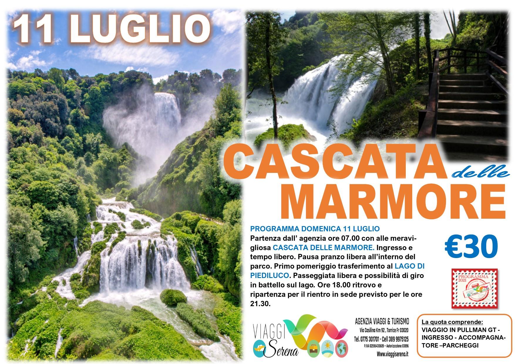Viaggi di Gruppo:  Cascate delle Marmore & Lago di Piediluco 11 Luglio € 30,00