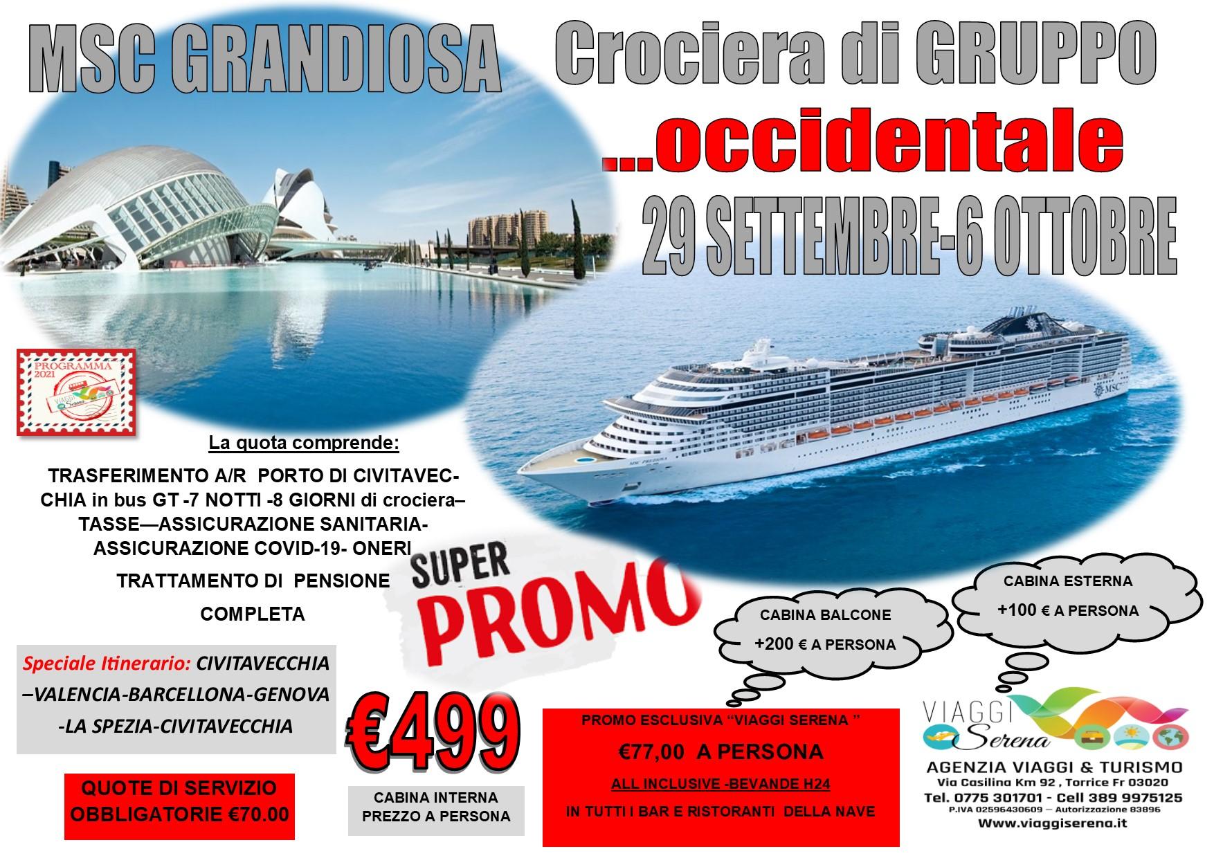 """Viaggi di Gruppo:  crociera di gruppo """"Mediterraneo Occidentale """" 29 Settembre -6 Ottobre € 499,00"""