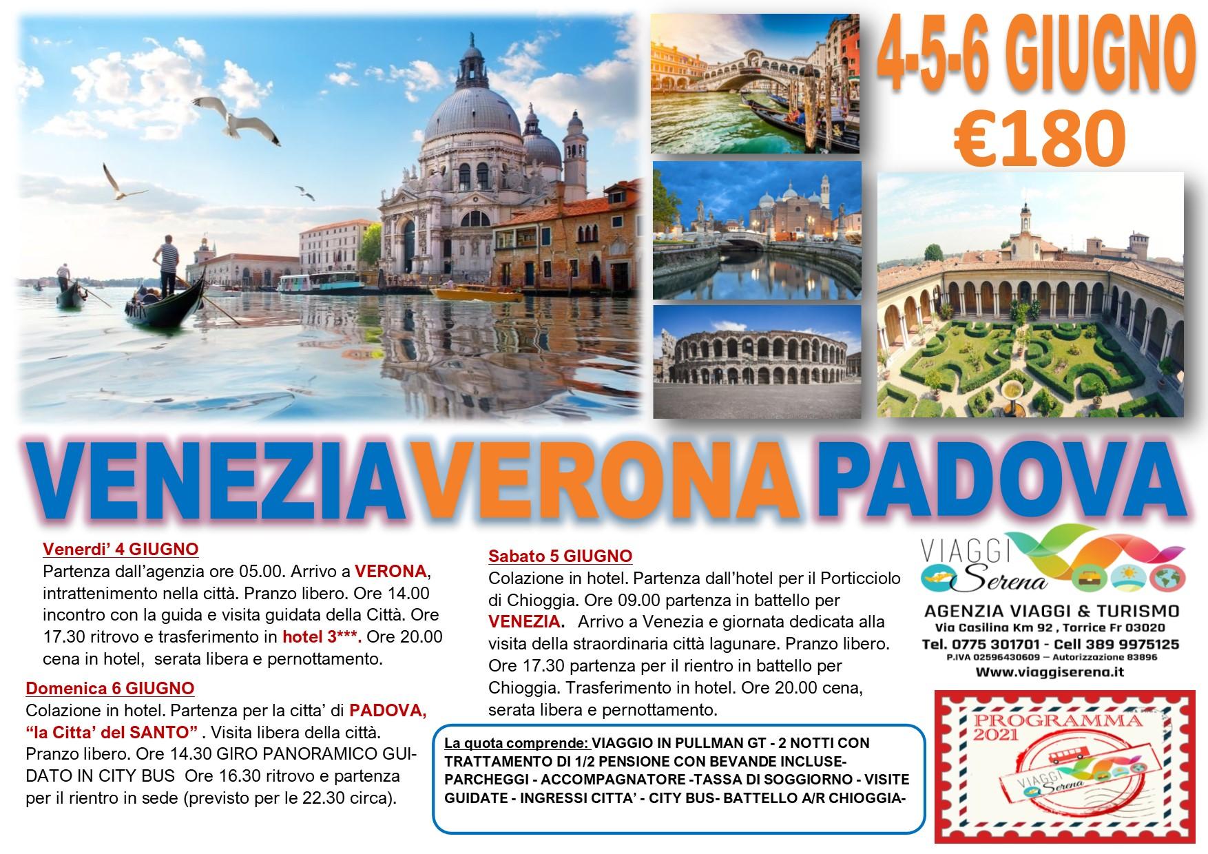 Viaggi di Gruppo: Venezia, Verona & Padova 4-5-6 Giugno € 180,00