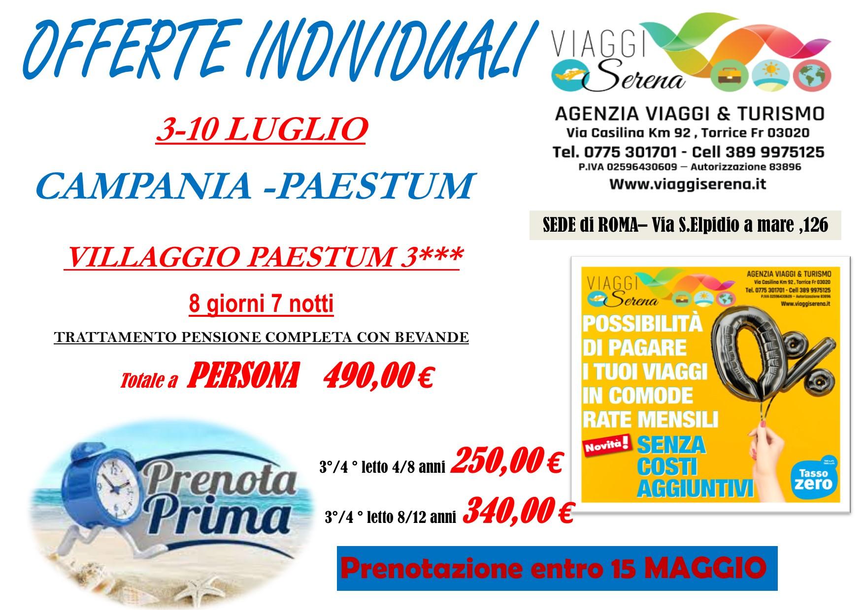 """Offerte Individuali : soggiorno mare con """"prenota prima"""" Paestum!!!"""