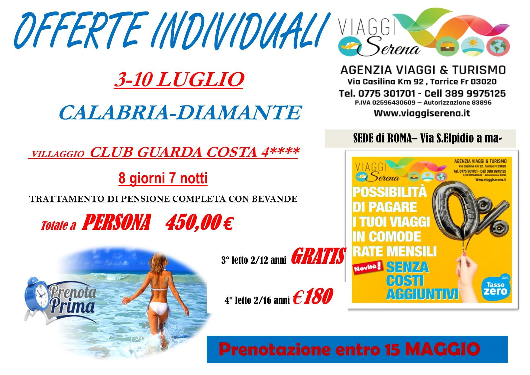 """Offerte Individuali : soggiorno mare con """"prenota prima"""" Calabria-Diamante!!!"""