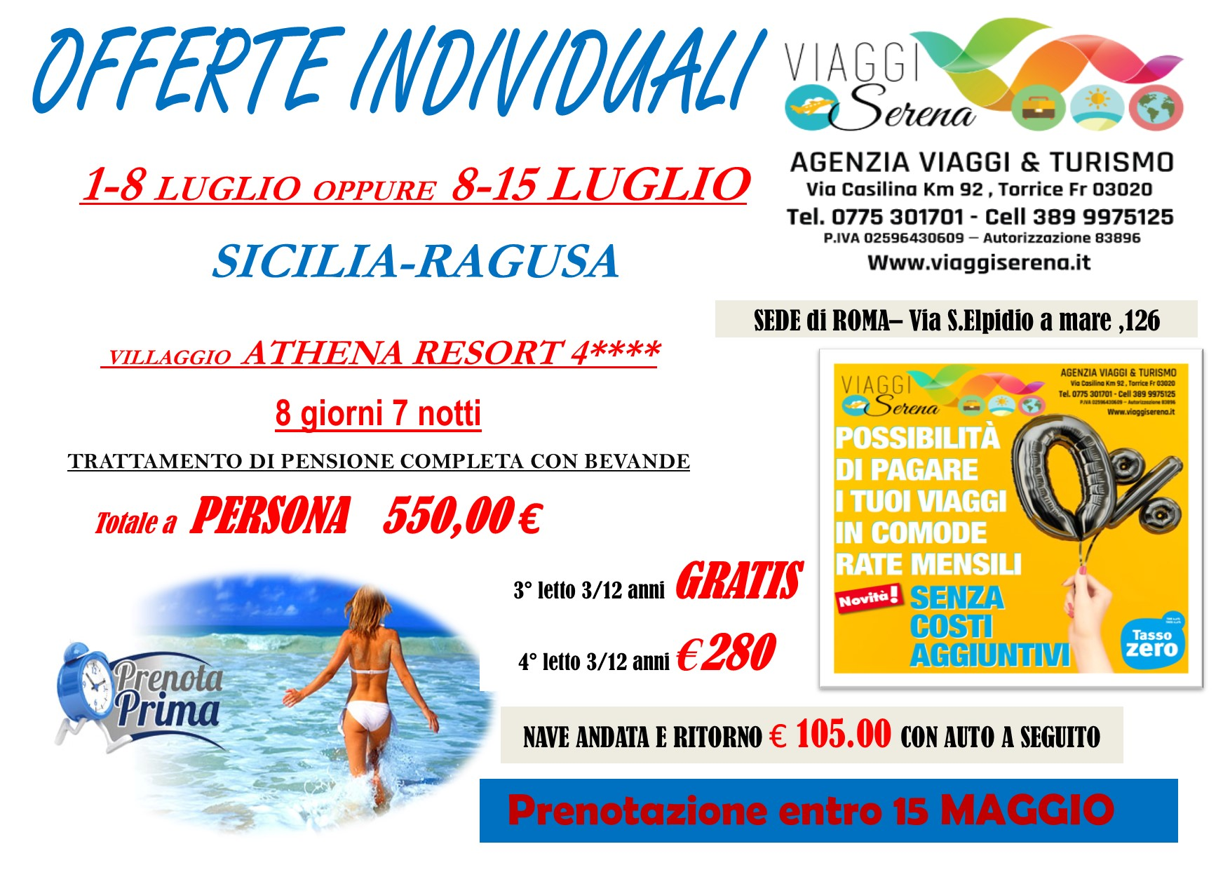 """Offerte Individuali : soggiorno mare con """"prenota prima"""" Sicilia-Ragusa!!!"""