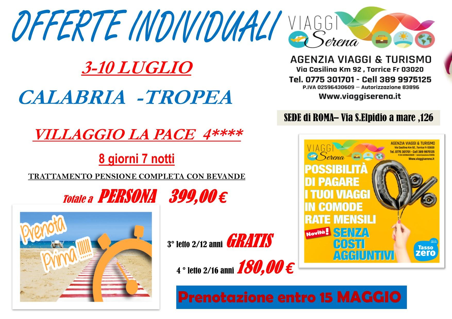 """Offerte Individuali : soggiorno mare con """"prenota prima"""" Calabria-Tropea!!!"""