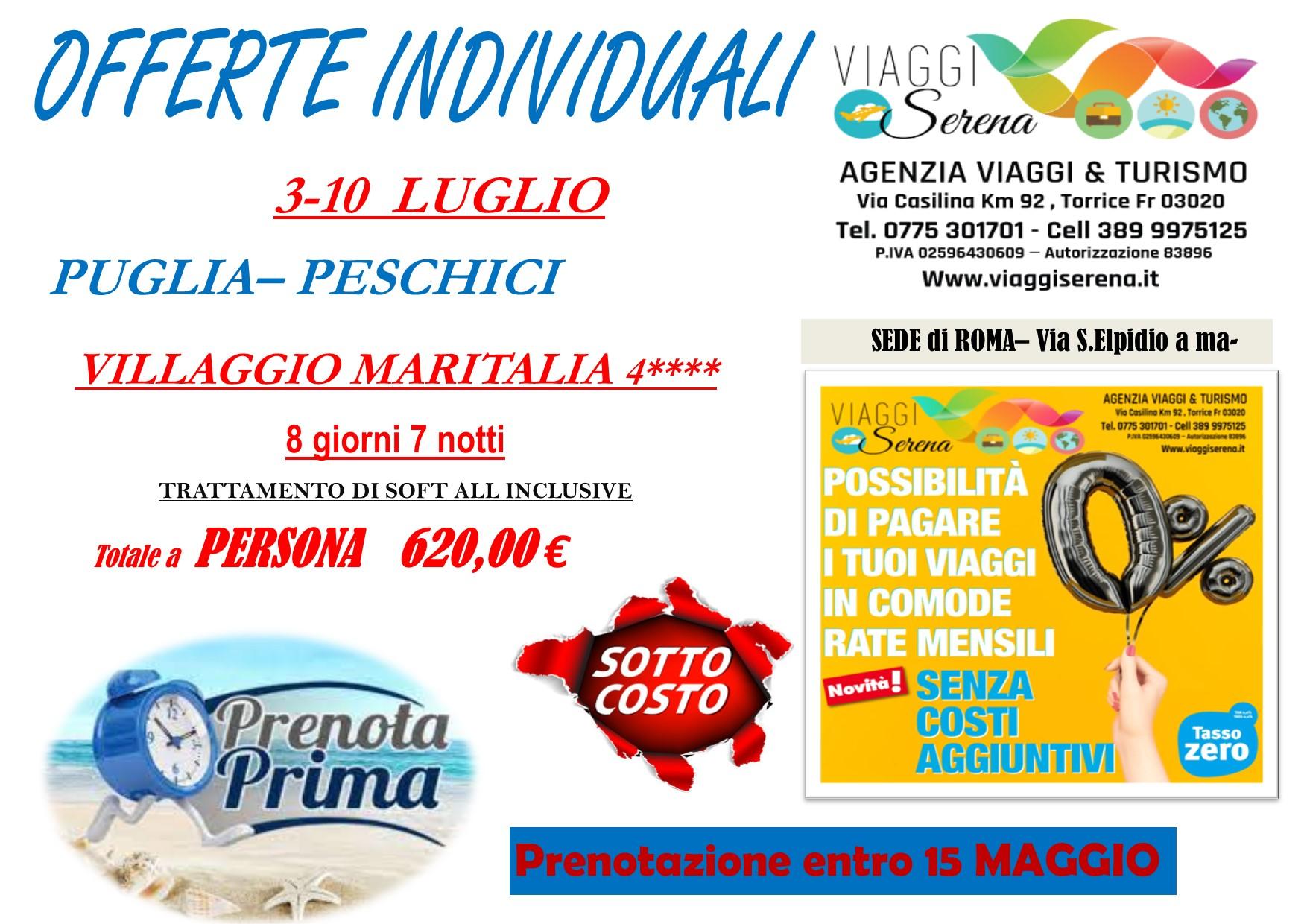 """Offerte Individuali : soggiorno mare con """"prenota prima"""" Puglia-Peschici!!!"""