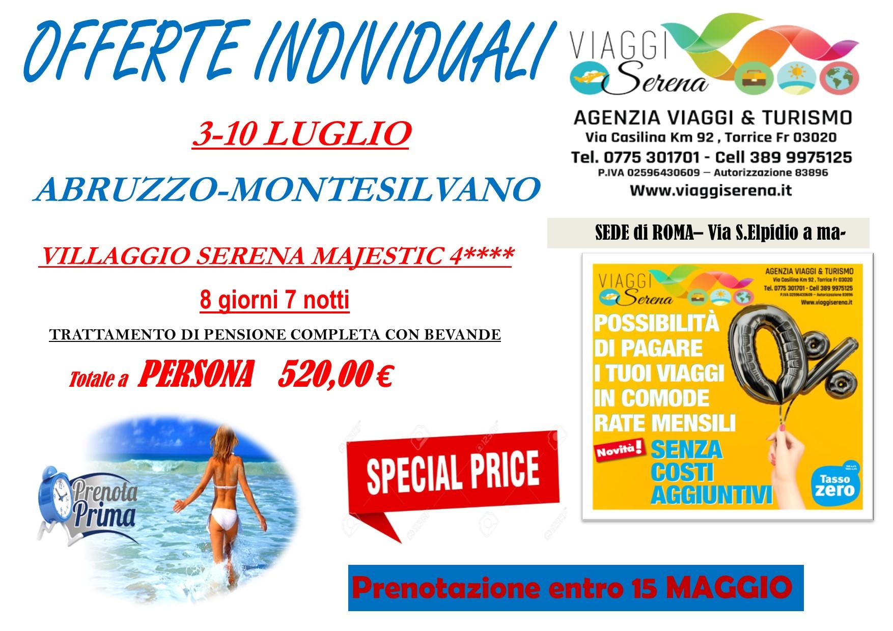 """Offerte Individuali : soggiorno mare con """"prenota prima"""" Abruzzo-Montesilvano !!!"""