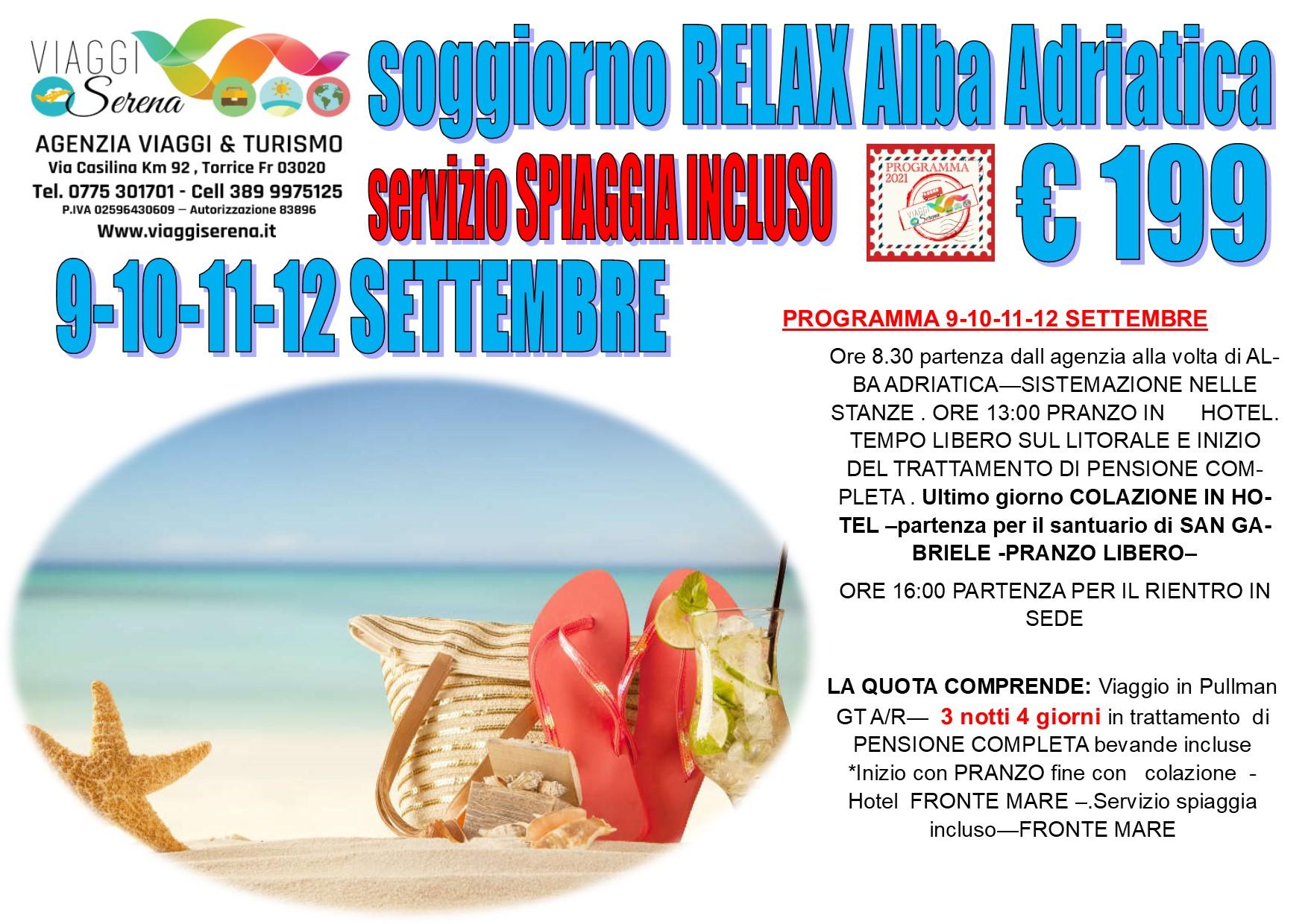 Viaggi di Gruppo: soggiorno mare  ALBA ADRIATICA  9-10-11-12 Settembre € 199,00