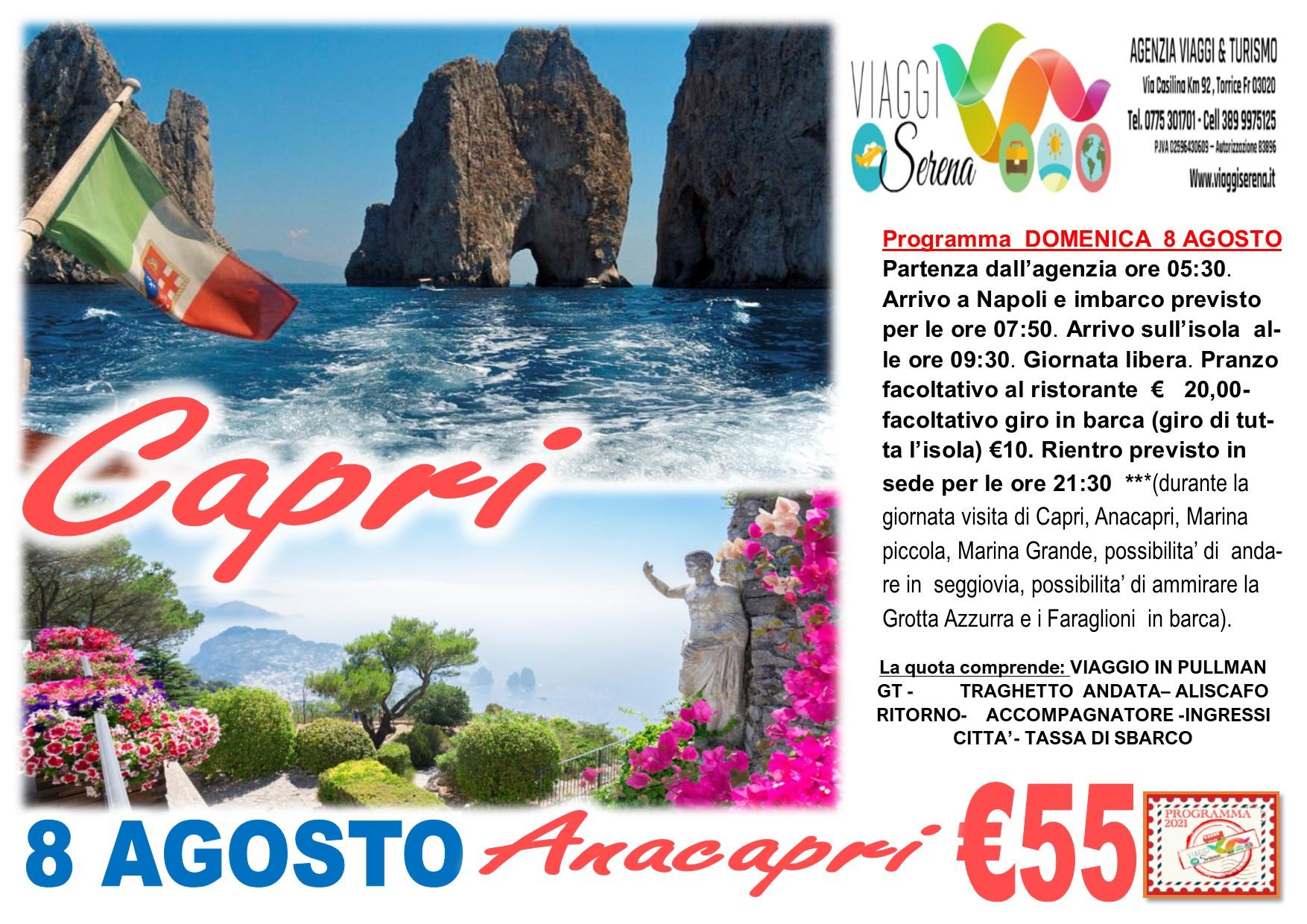 Viaggi di Gruppo: Capri & Anacapri 8 Agosto € 55,00