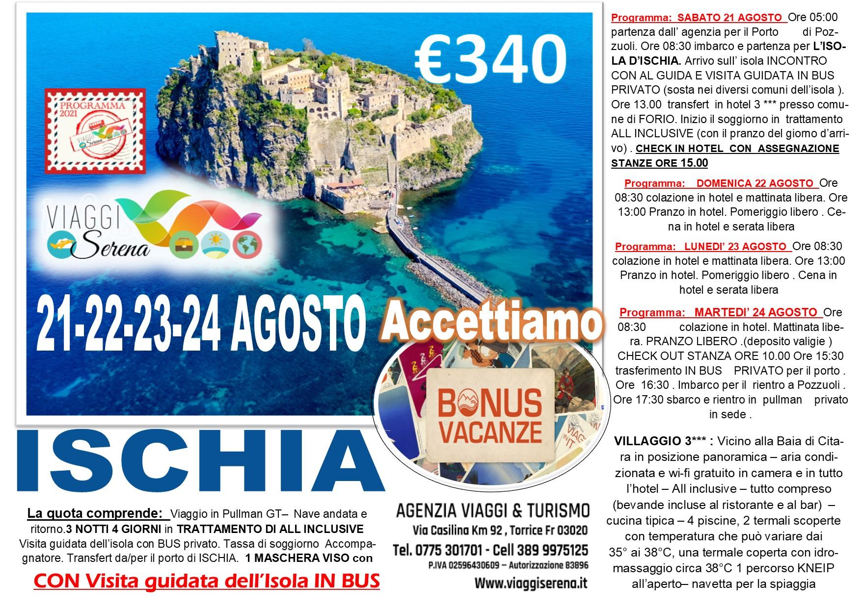 """Viaggi di Gruppo: Isola d'Ischia 21-24 Agosto """"Bonus Vacanza"""" € 340,00"""