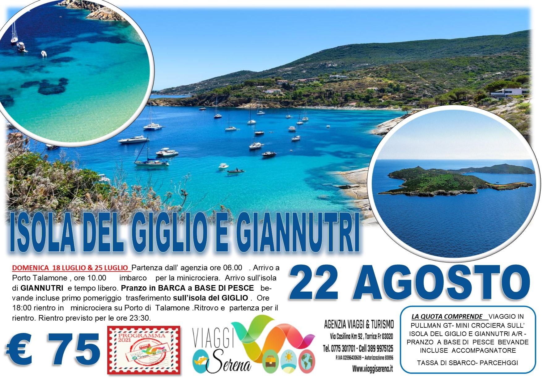 Viaggi di Gruppo: Minicrociera Isola del Giglio & Giannutri 22 Agosto € 75,00