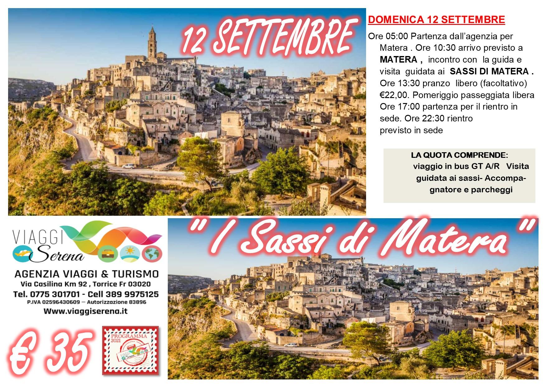 """Viaggi di Gruppo:  MATERA """"I Sassi di Matera"""" 12 Settembre € 35,00"""