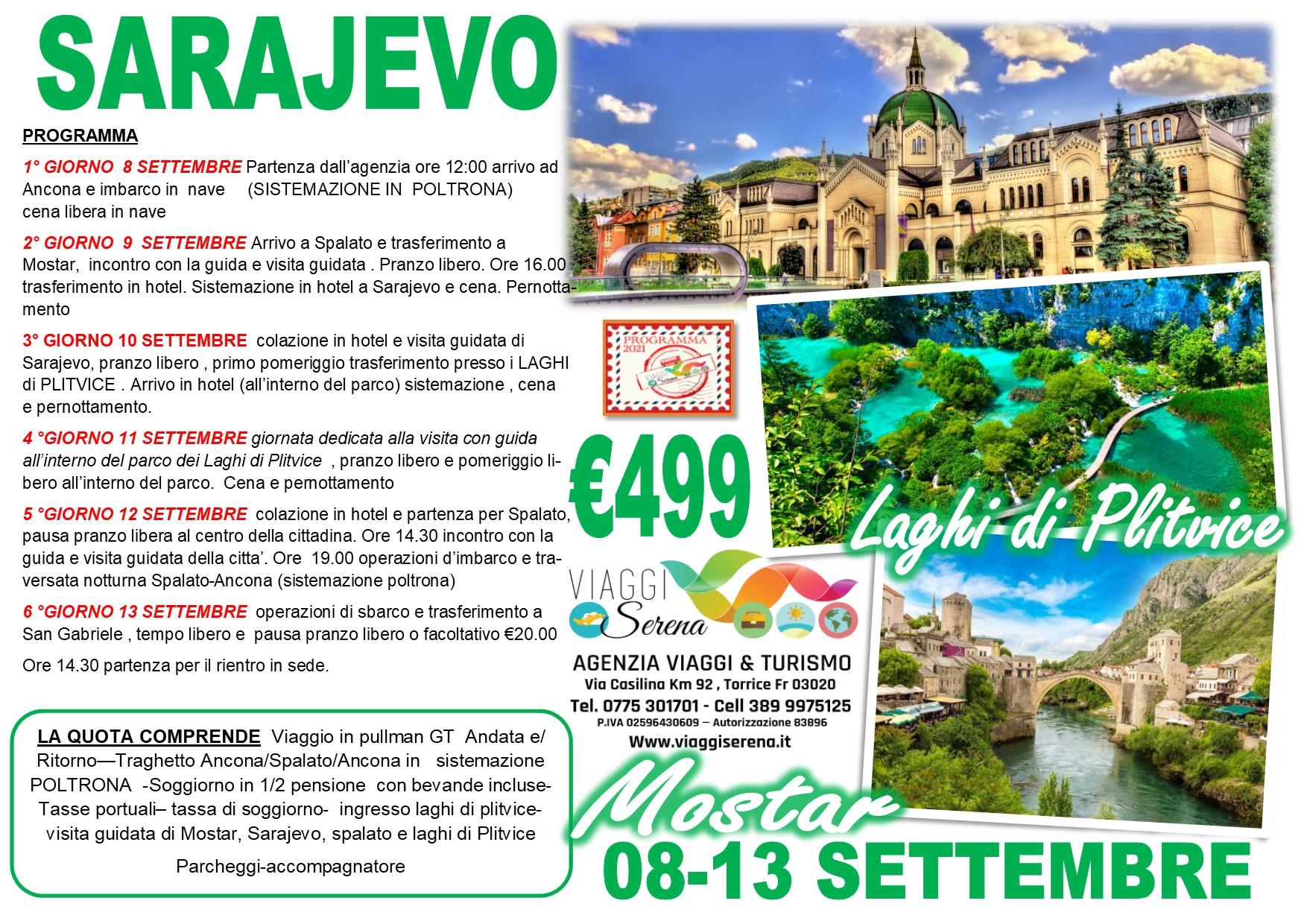 Viaggi di Gruppo: Sarajevo , Mostar, Spalato & i LAGHI di PLITVICE  8-13 Settembre  € 499,00