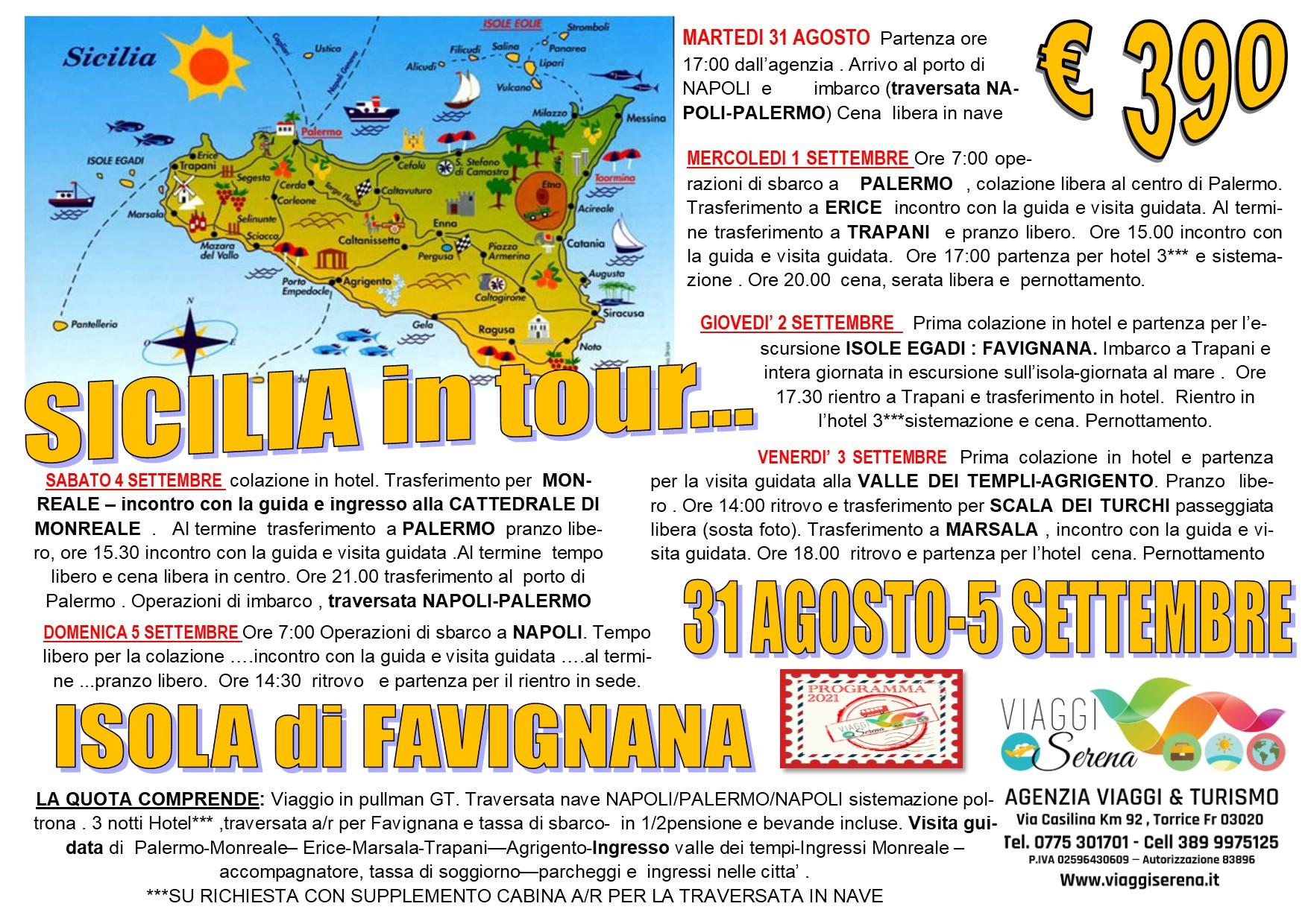 """Viaggi di Gruppo:  Tour SICILIA """"Palermo, Monreale, Favignana, Agrigento, Erice, Trapani & Marsala"""" 31 Agosto-5 Settembre € 390,00"""