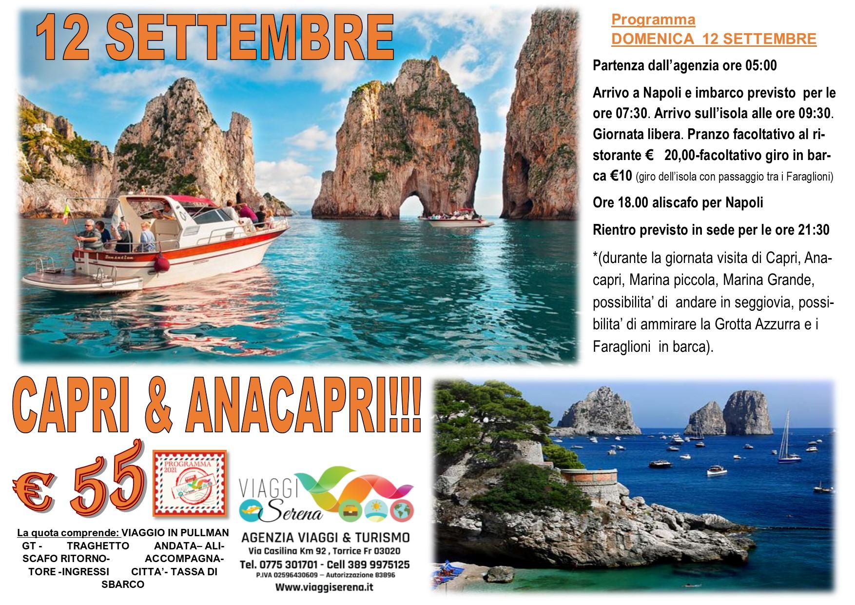 Viaggi di Gruppo: Isola di Capri 12 Settembre € 55,00