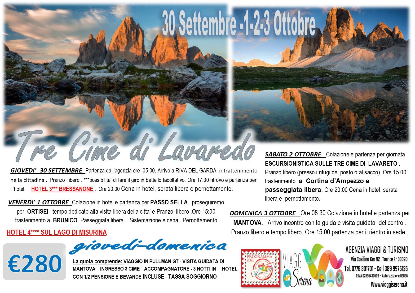 Viaggi di Gruppo: Tre Cime di Lavaredo, Passo Sella, Ortisei, Mantova  & Riva del Garda 30 Settembre 1-2-3 Ottobre € 280,00