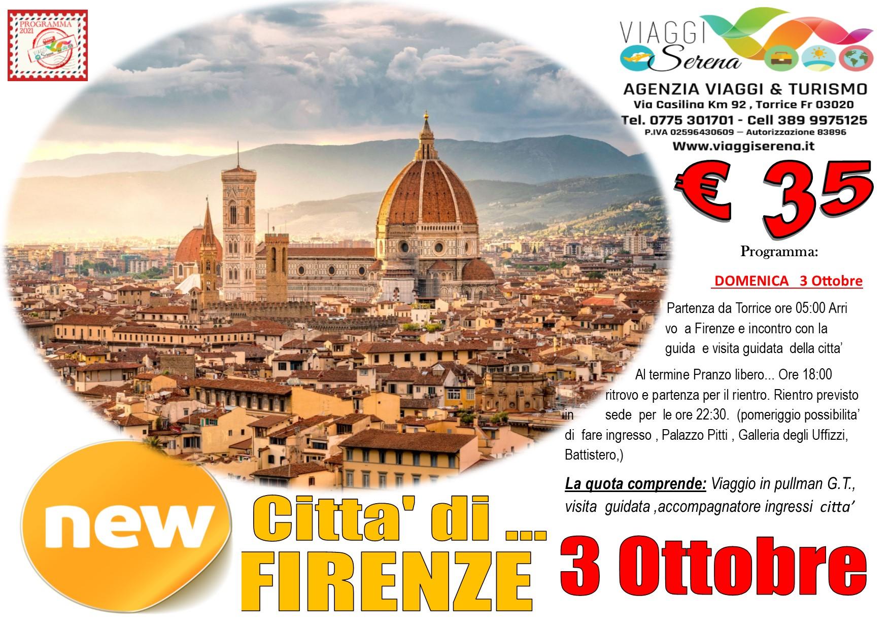 Viaggi di Gruppo: Citta' di FIRENZE 3 Ottobre € 35,00
